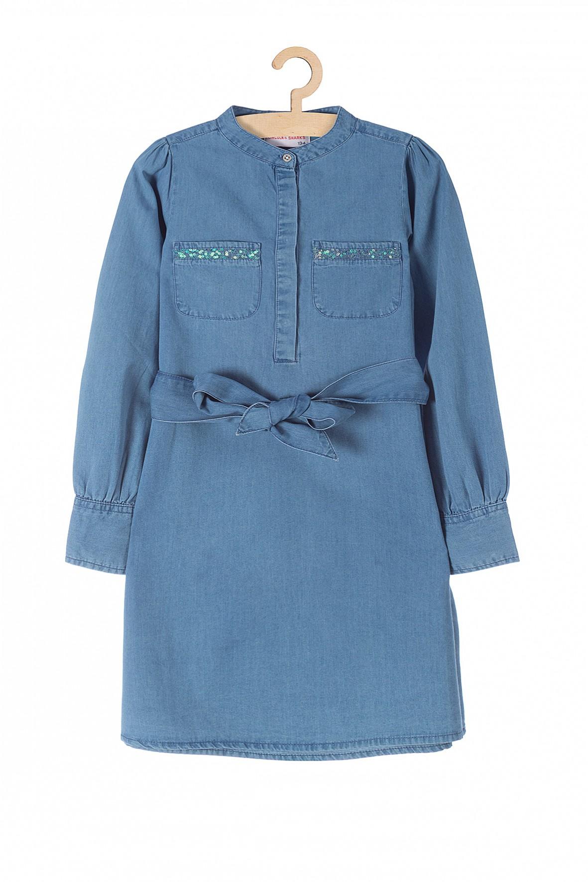 Sukienka dziewczęca jeansowa wiązana w pasie