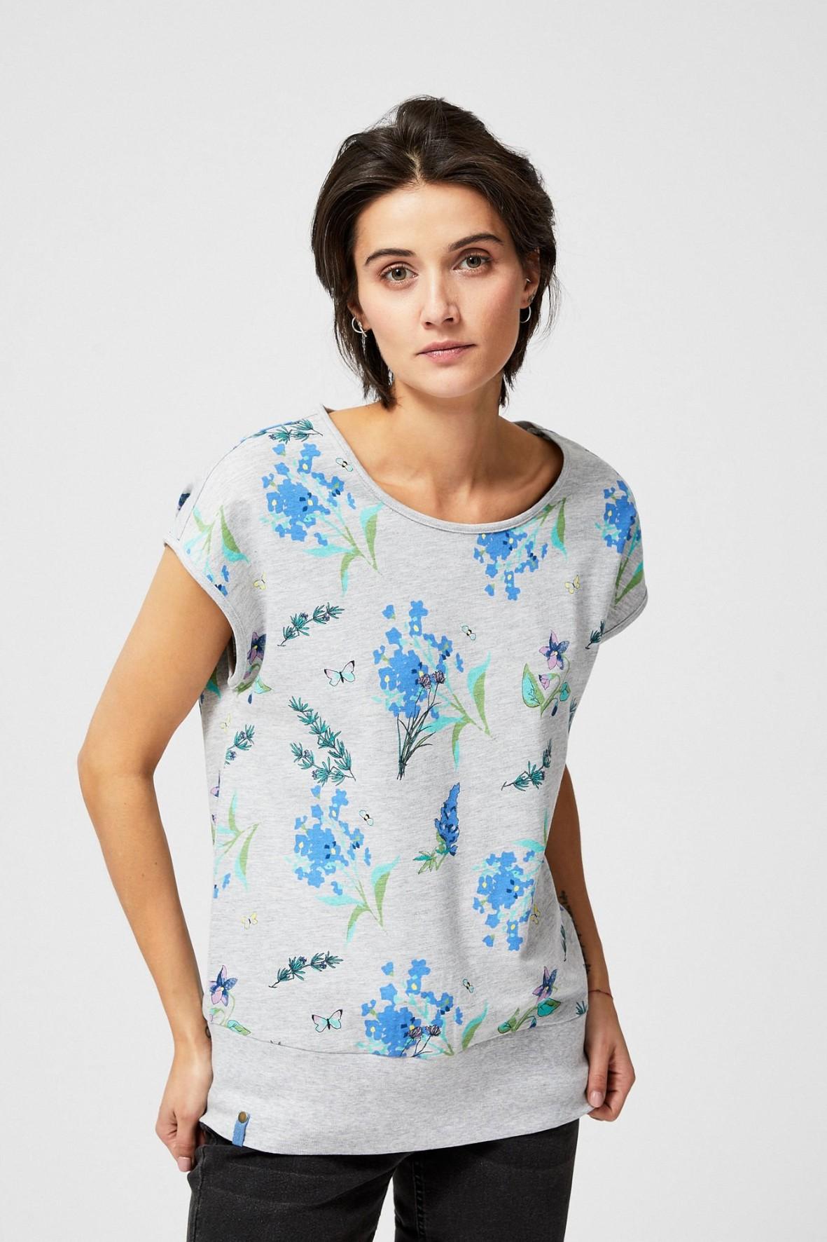 T-shirt damski szary z kwiatowym nadrukiem