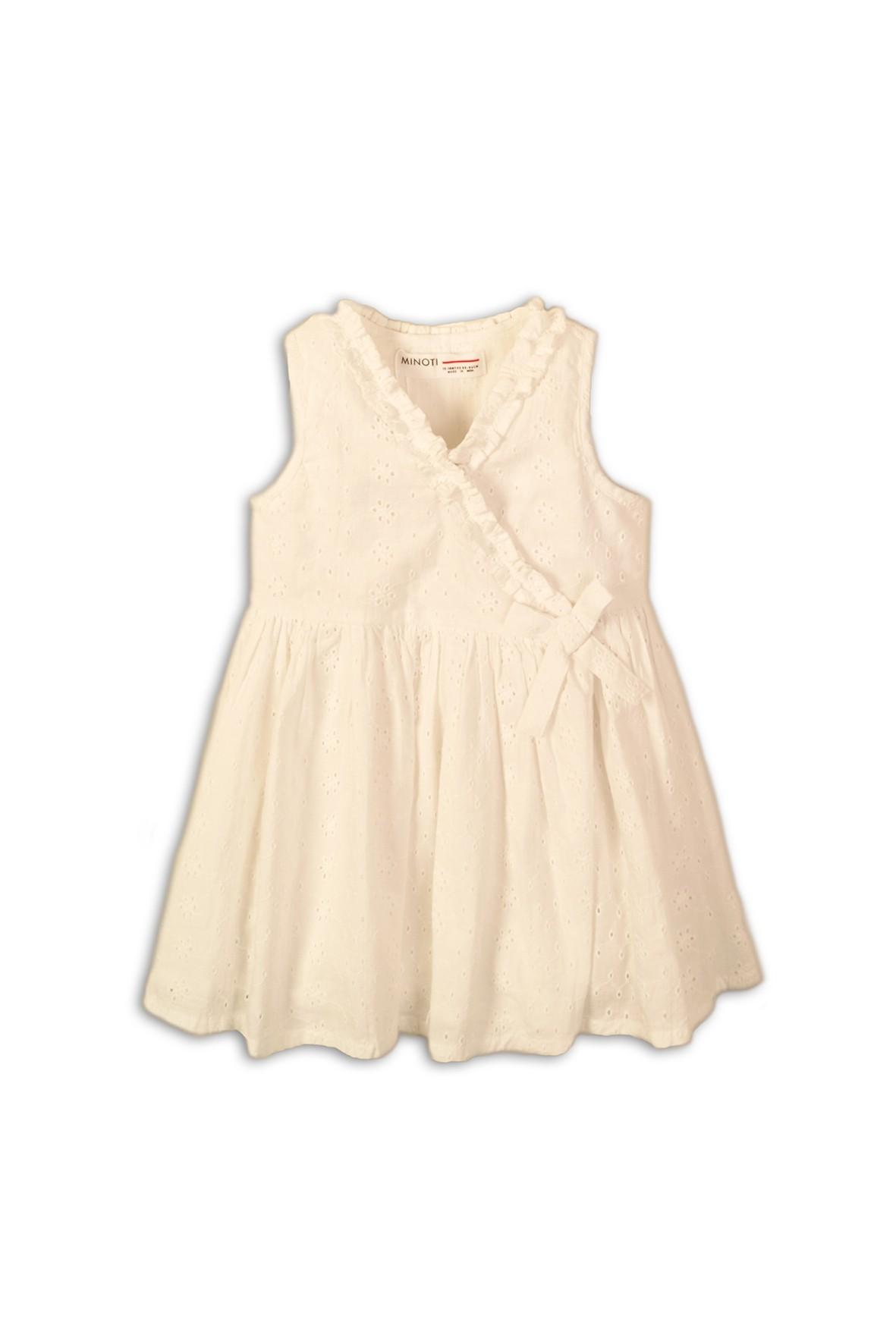 Elegancka sukienka ecru z zakładką