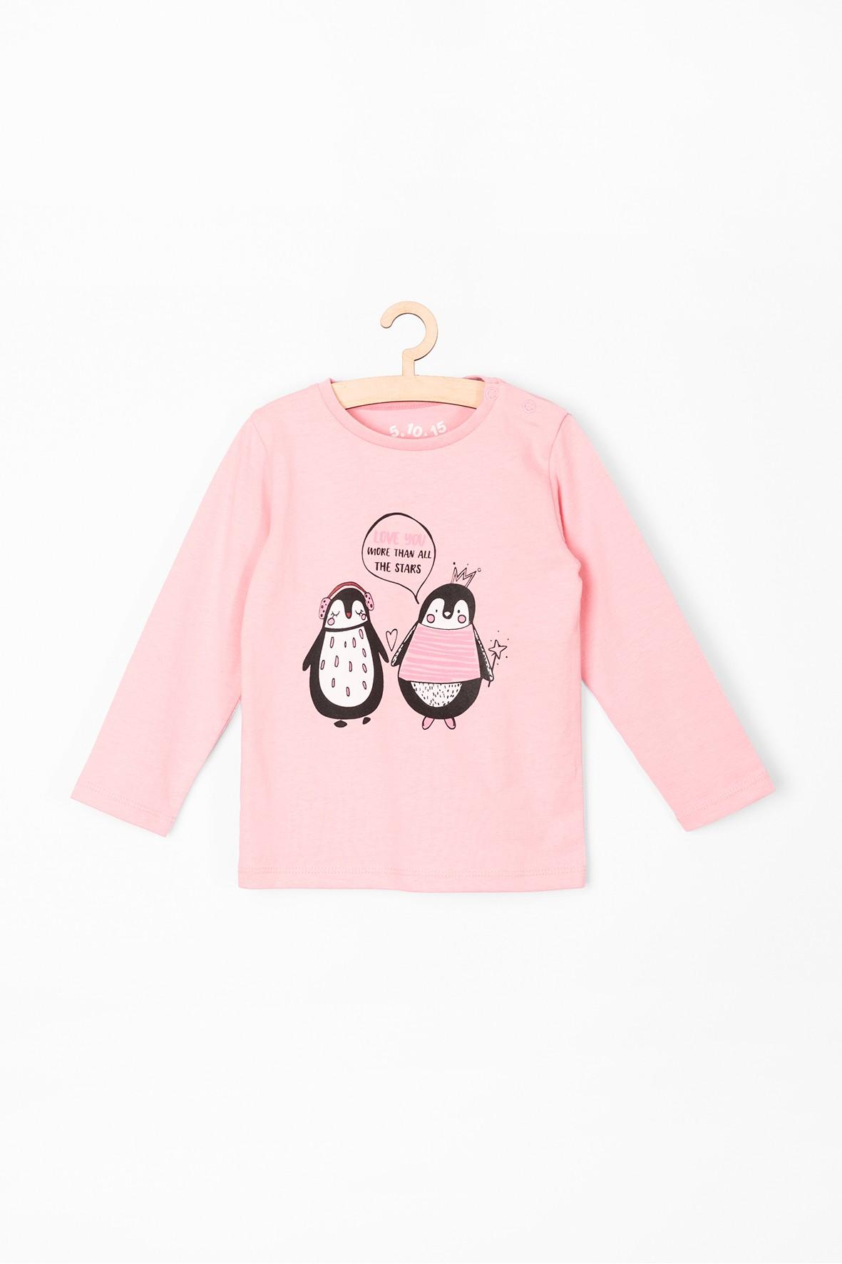 Bluzka niemowlęca- różowa z pingwinkami