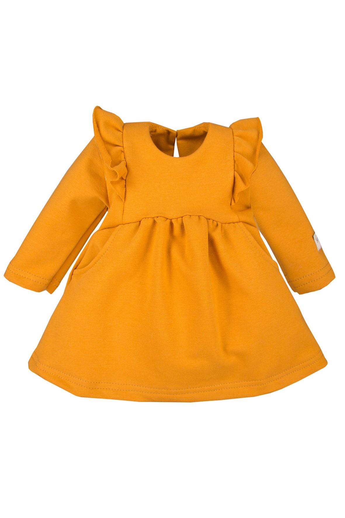 Bawełniana sukienka z falbankami - miodowy