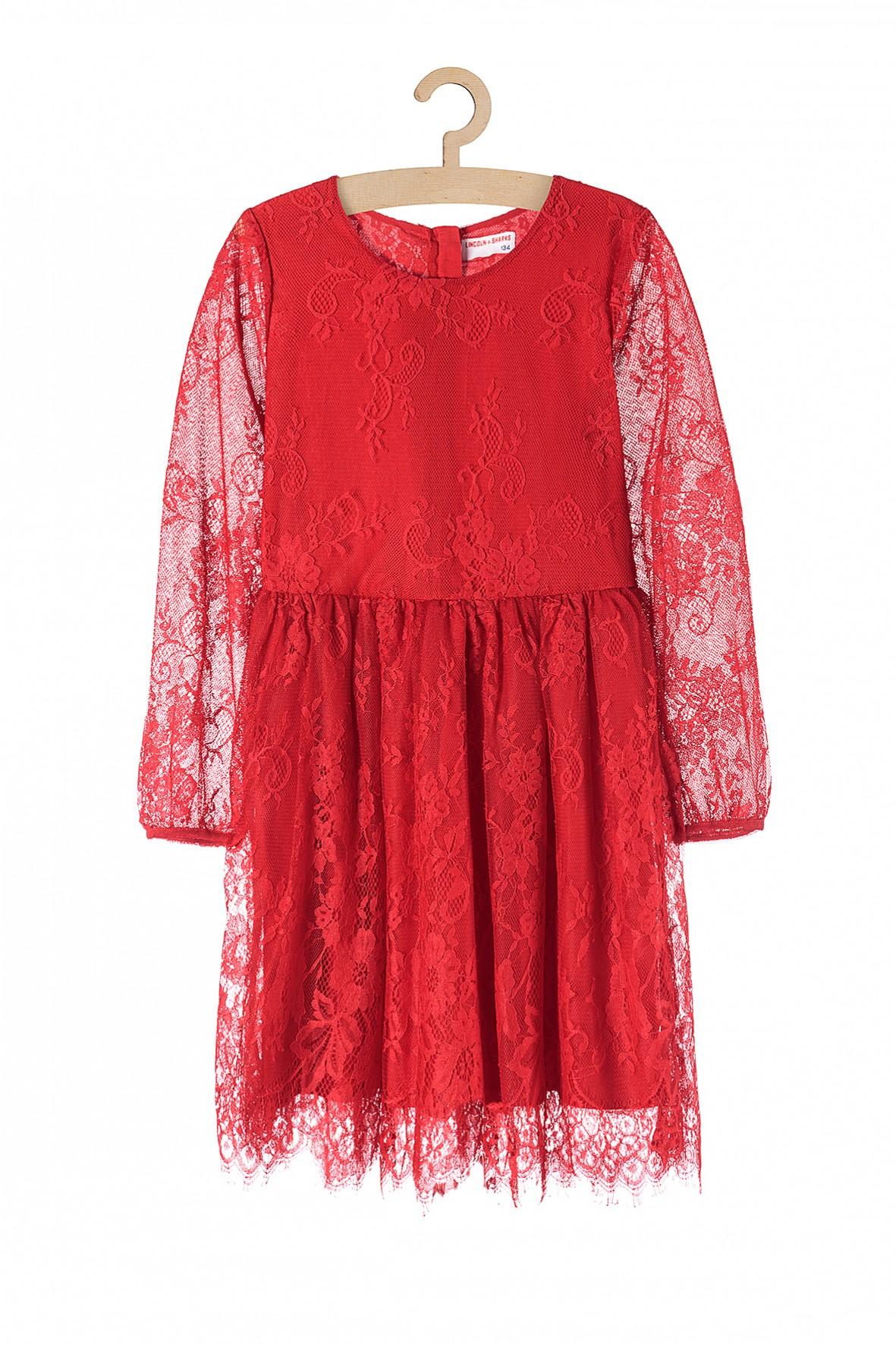 Sukienka koronkowa na specjalne okazje- czerwona