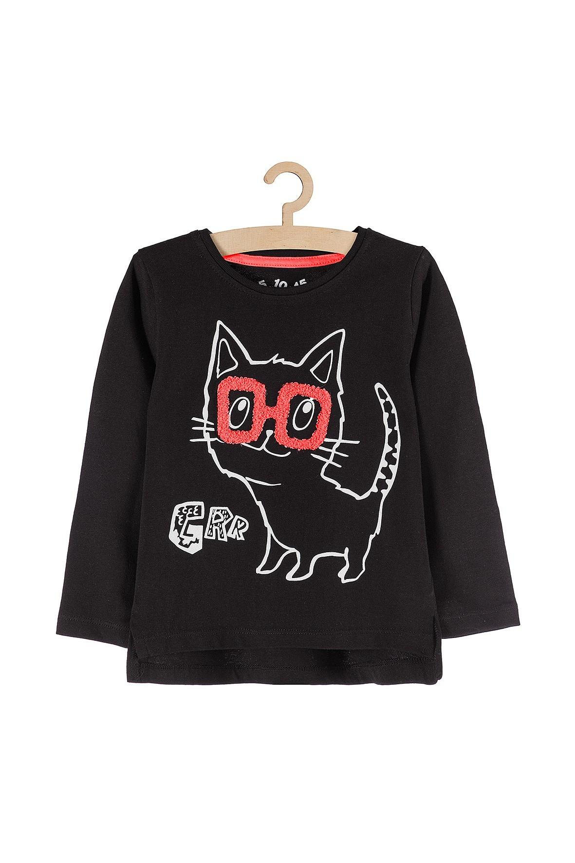 Bluzka dla dziewczynki czarna z kotem w okularach