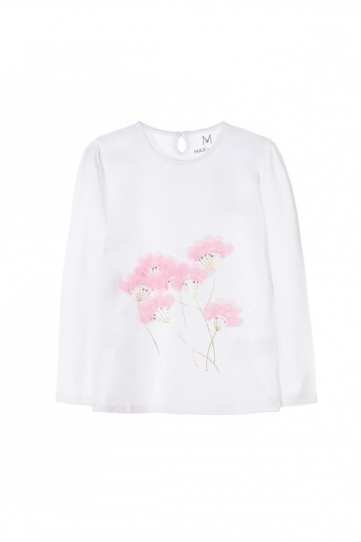 Biała bluzka dla dziewczynki z miękkiej dzianiny z aplikacją 3D