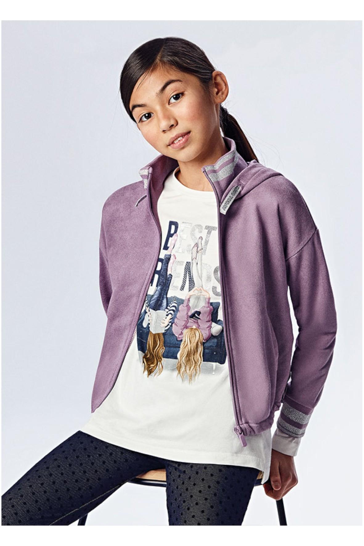 Bluza dziewczęca z kapturem Mayoral - fioletowa