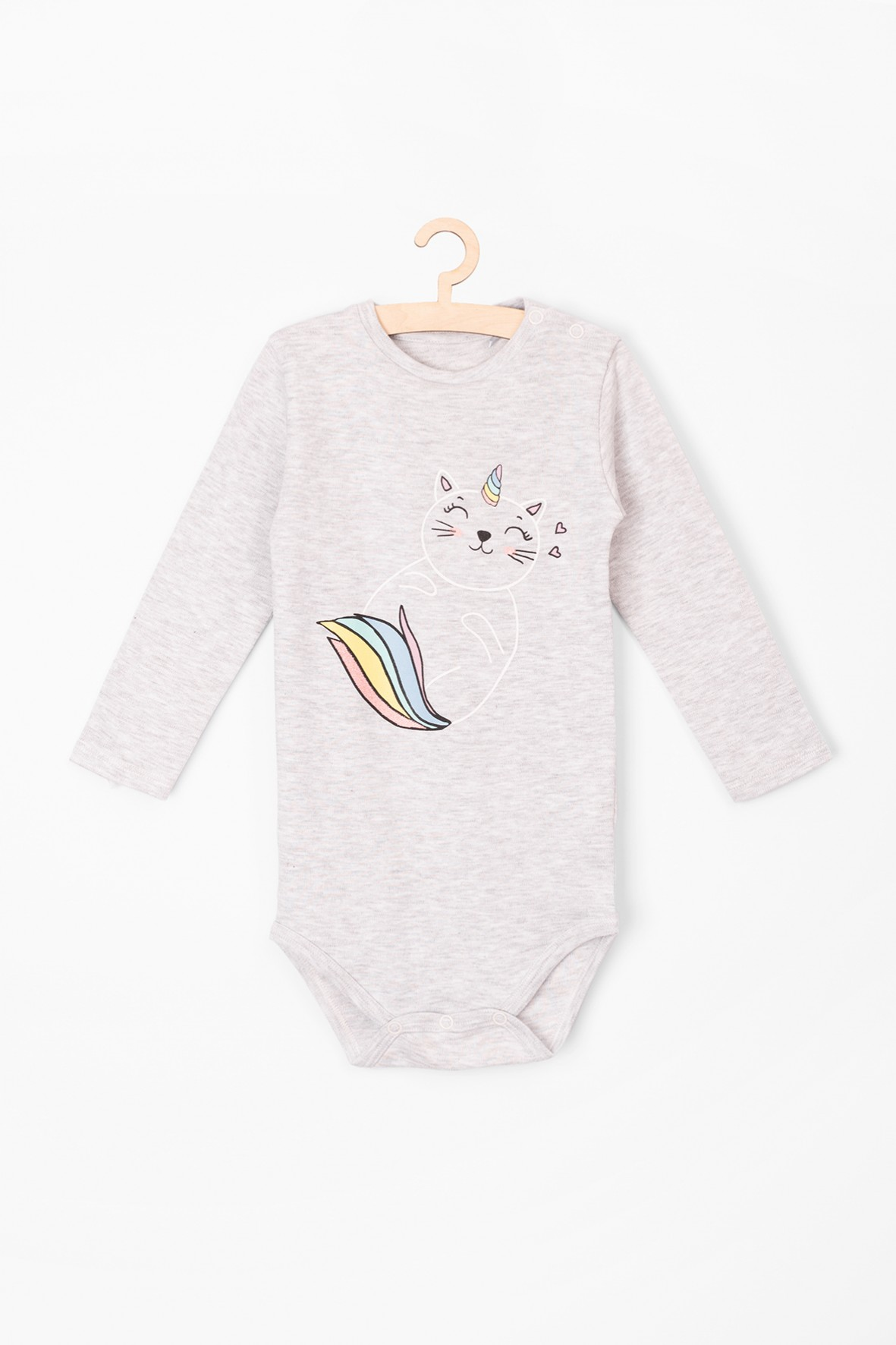 Body niemowlęce z długim rękawem dla dziewczynki z kotorożcem