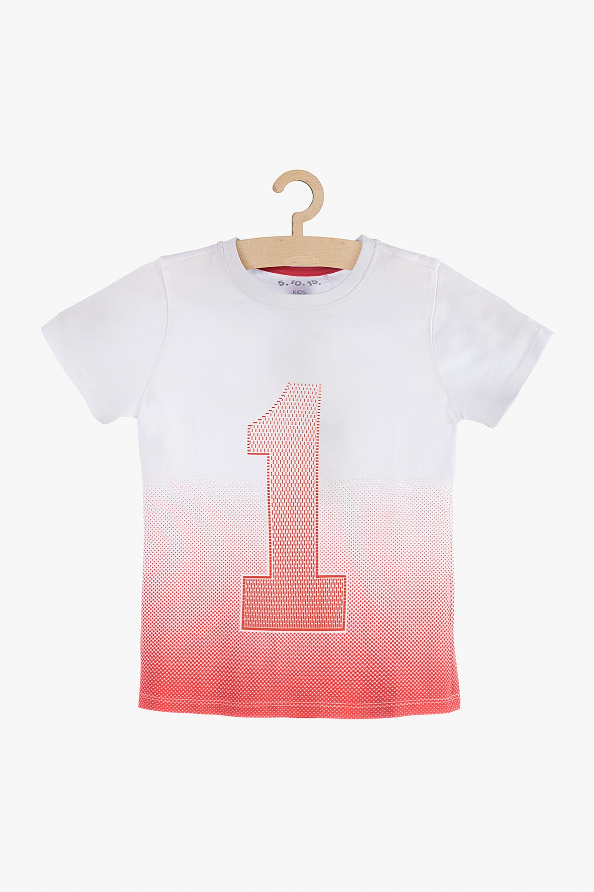 T-Shirt chłopięcy biało-czerwony z numerem 1
