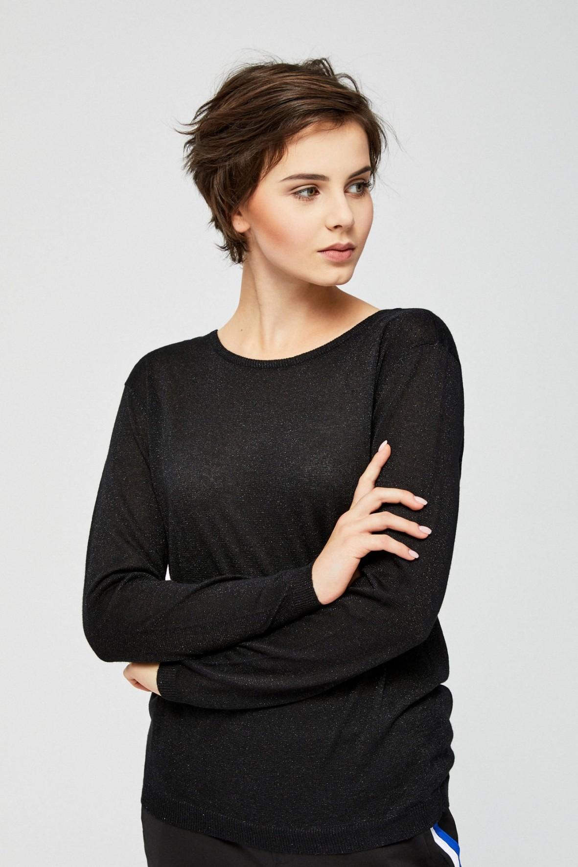 Sweter damski z metaliczna nitką