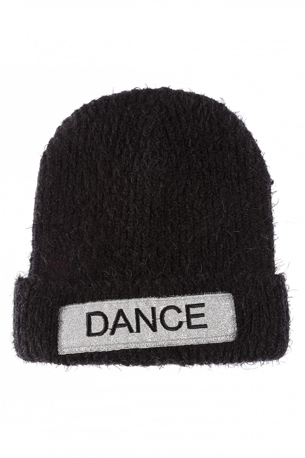 Czapka dziewczęca- czarna z naszywką Dance