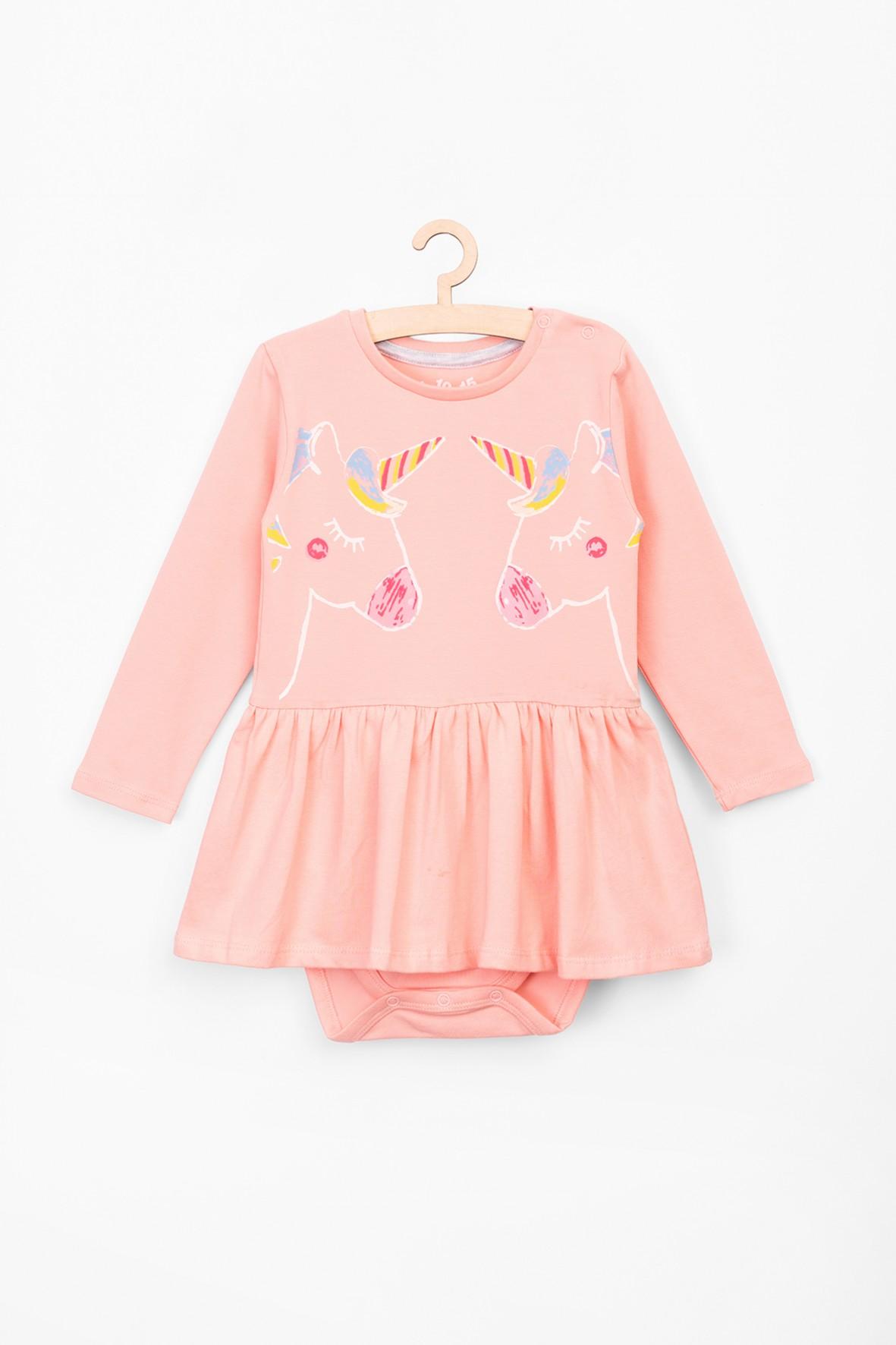 Body dla niemowlaka- różowe z jednorożcami i falbanką