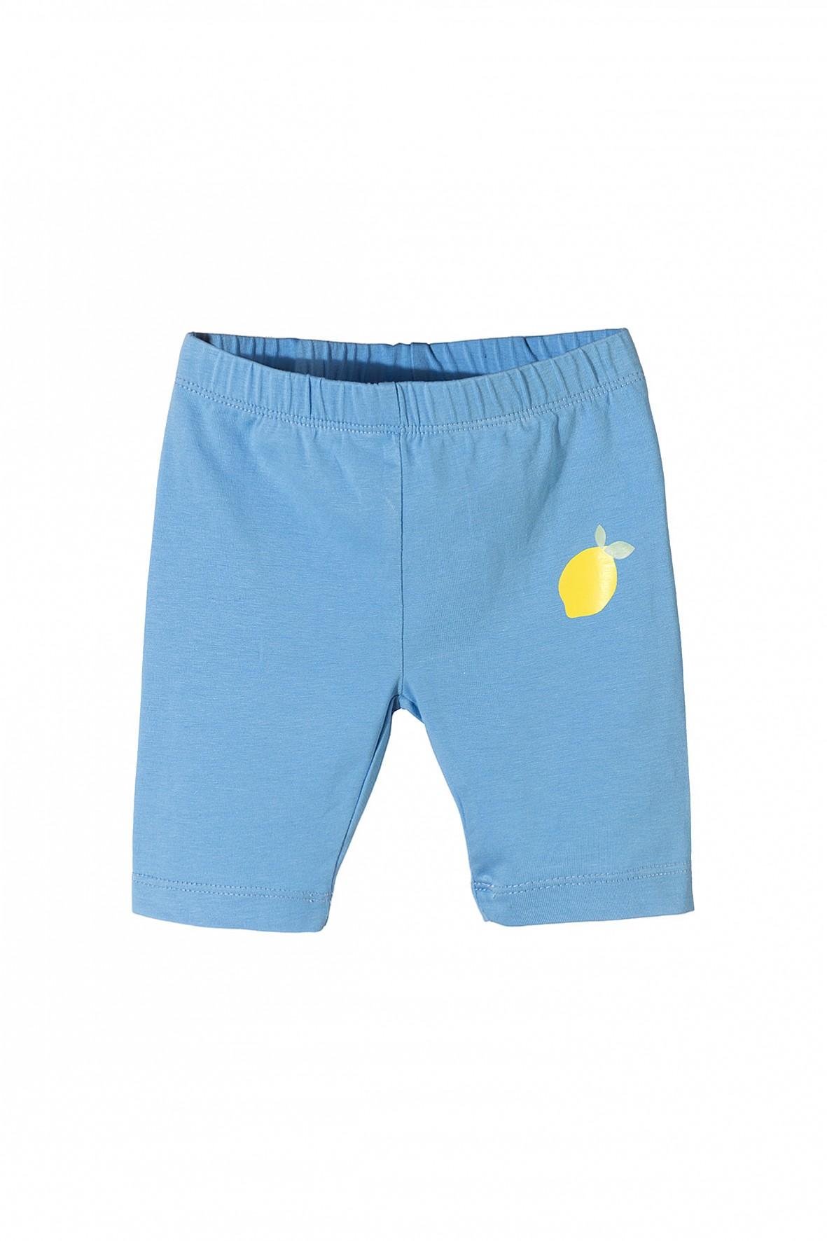 Krótkie spodenki dla dziewczynki- niebieskie z cytryną