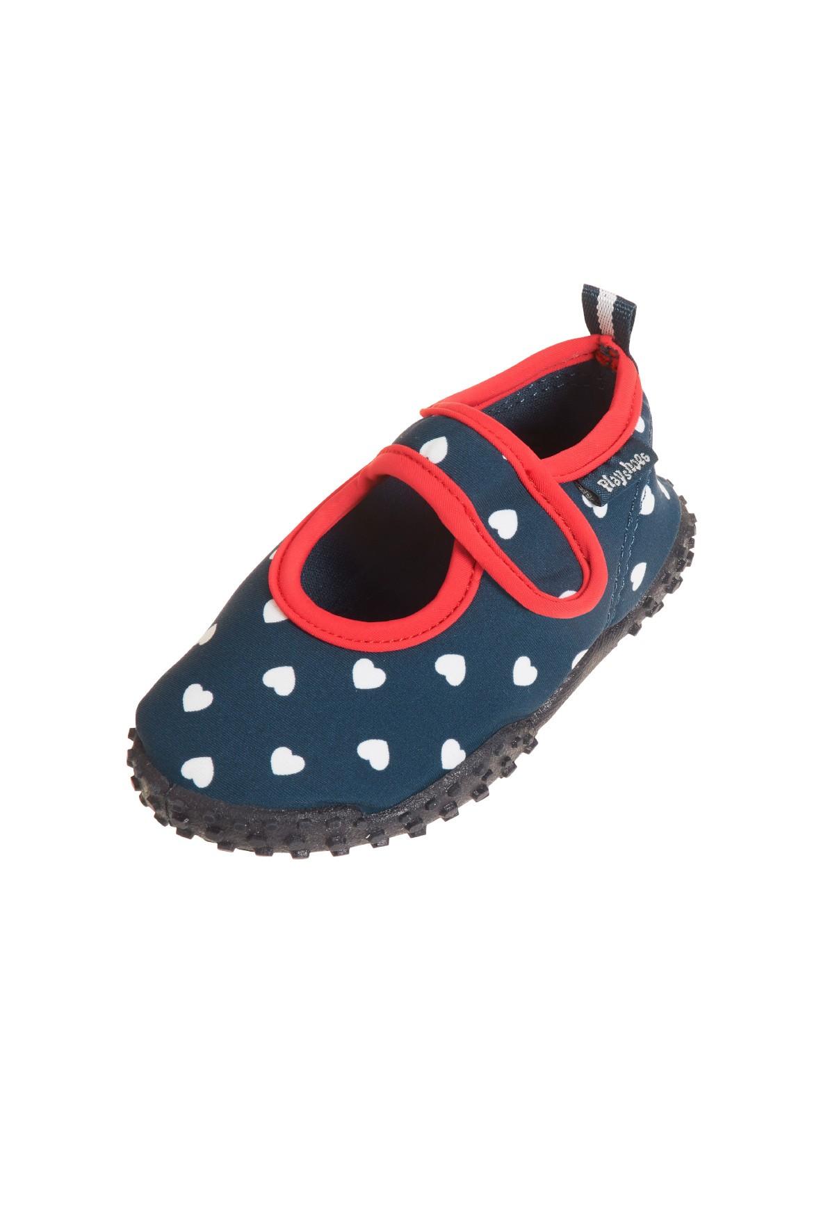 Buty kąpielowe z filtrem UV 50+ granatowe w białe serduszka