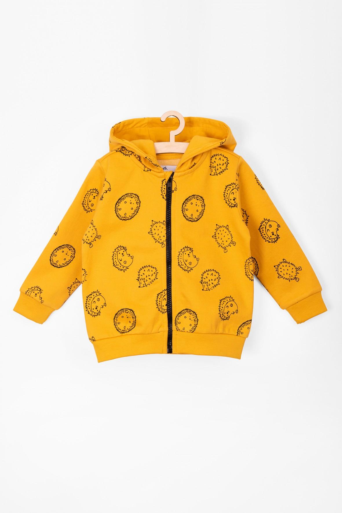 Bluza rozpinana dla niemowlaka-żółta w jeżyki