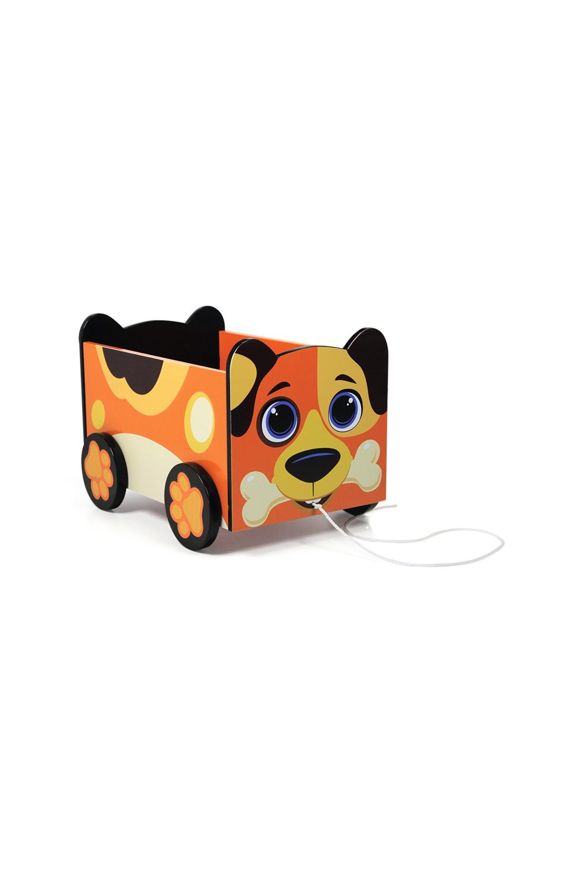 Drewniany wózek na zabawki - Jazda po zabawki!