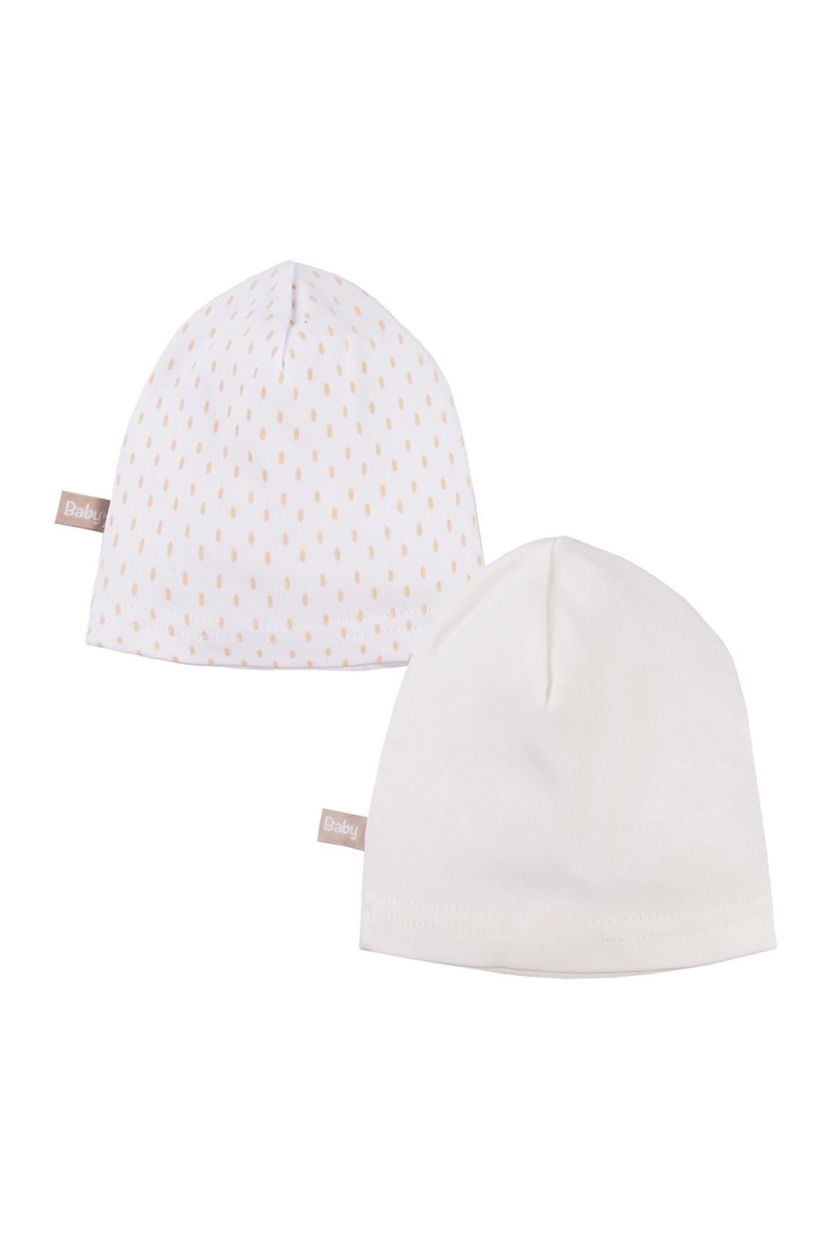 Bawełniane czapki niemowlęce 2pak - ecru