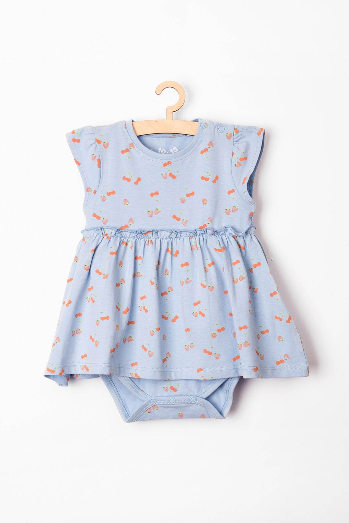 Body niemowlęce z imitacją sukienki- niebieskie w wisienki i truskawki