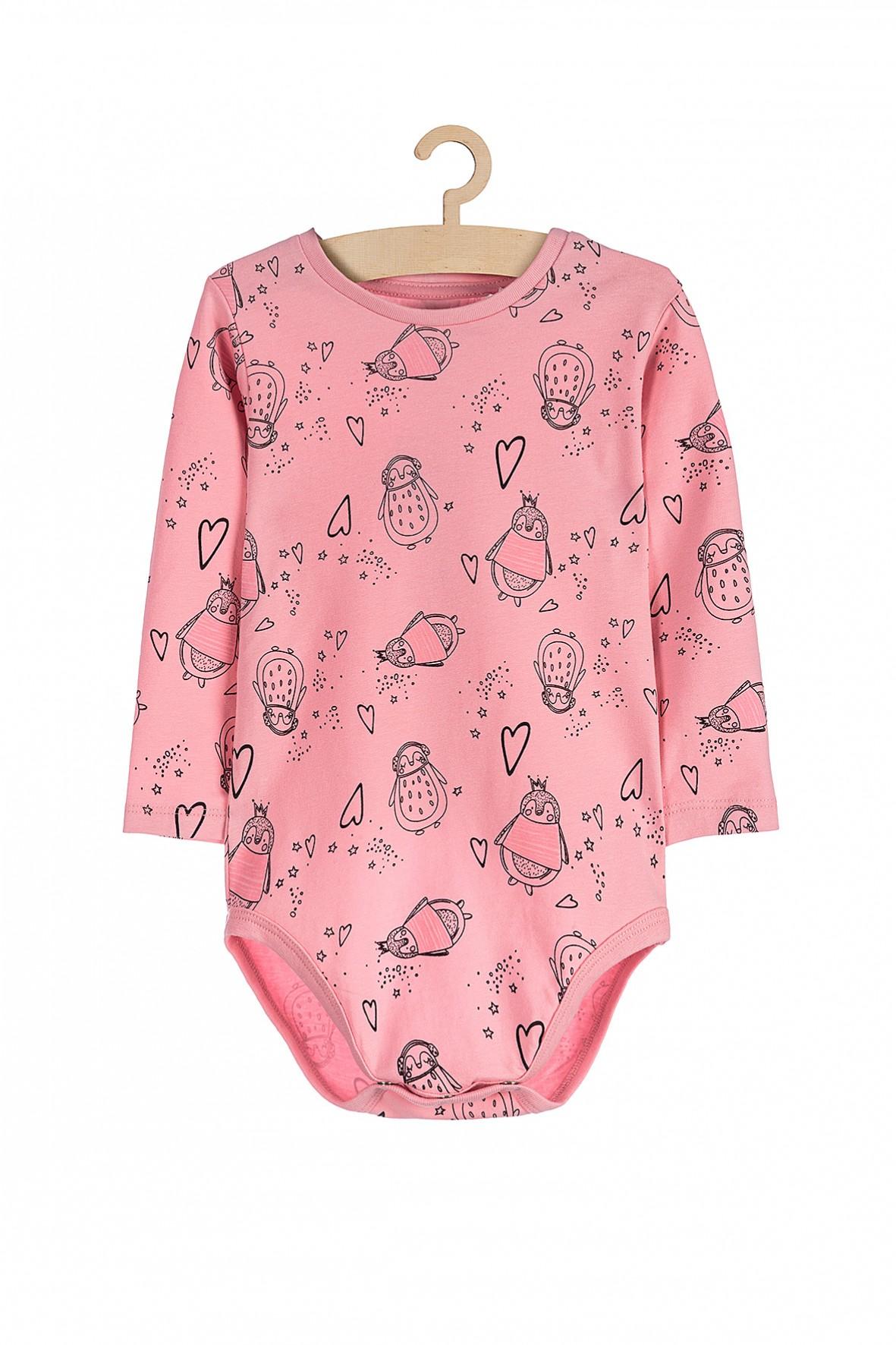 Body dla niemowlaka- różowe w pingwiny