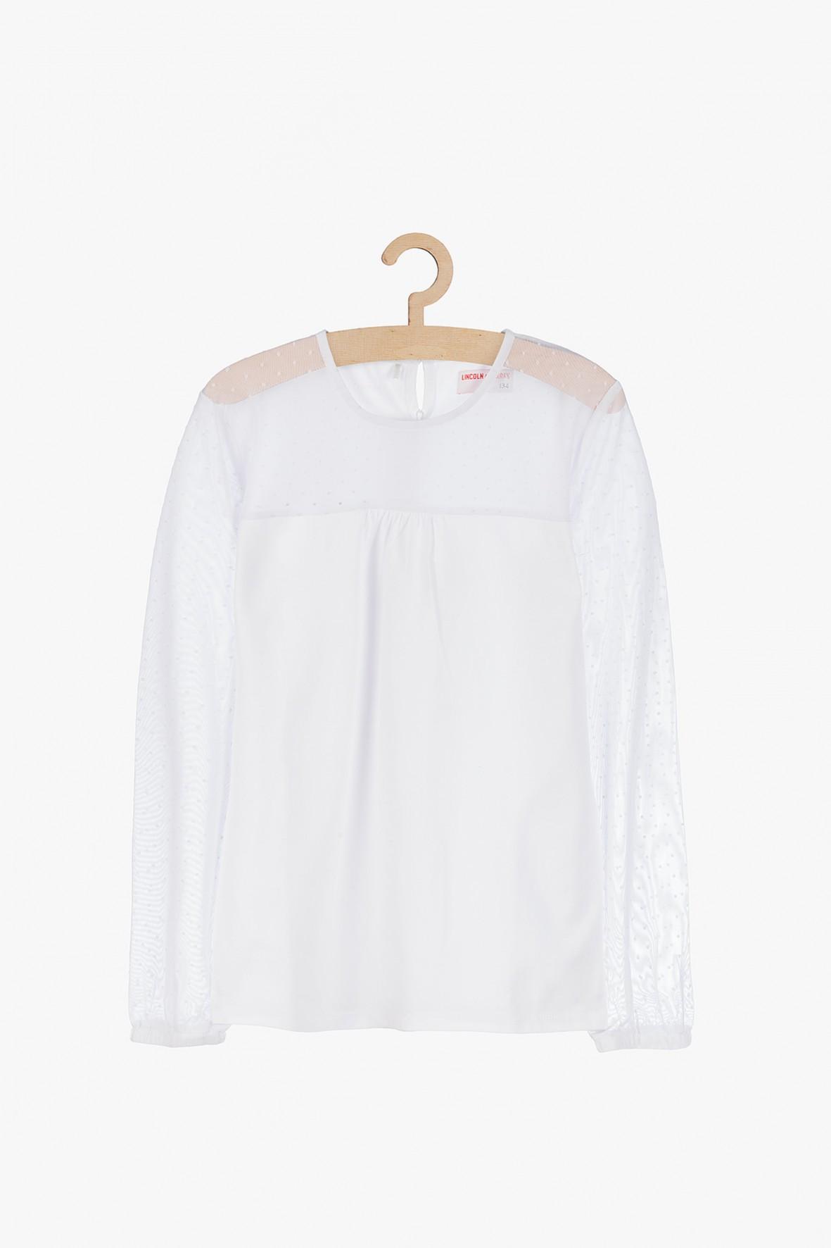 Bluzka dziewczęca biała z tiulową górą i rękawami
