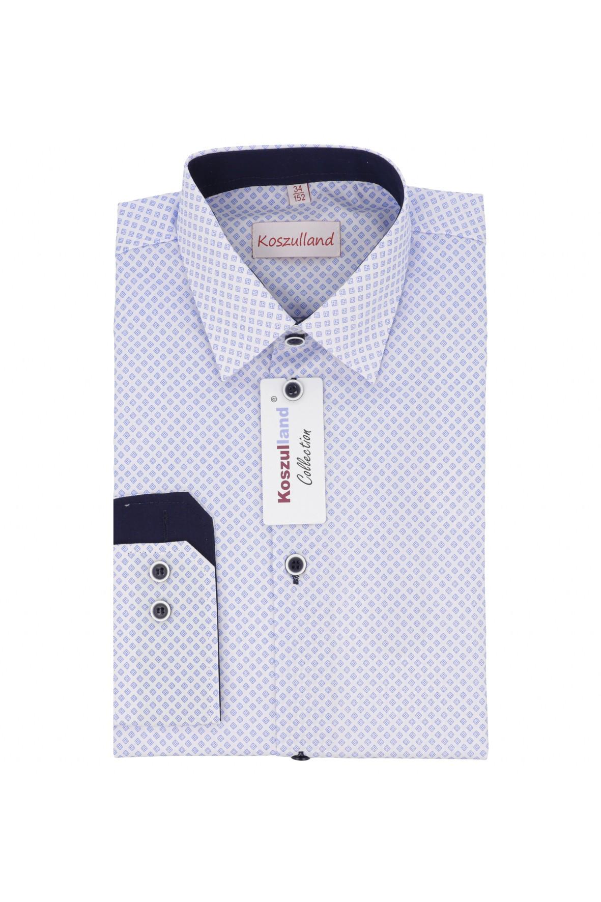 Koszula chłopięca biała z niebieskim nadrukiem