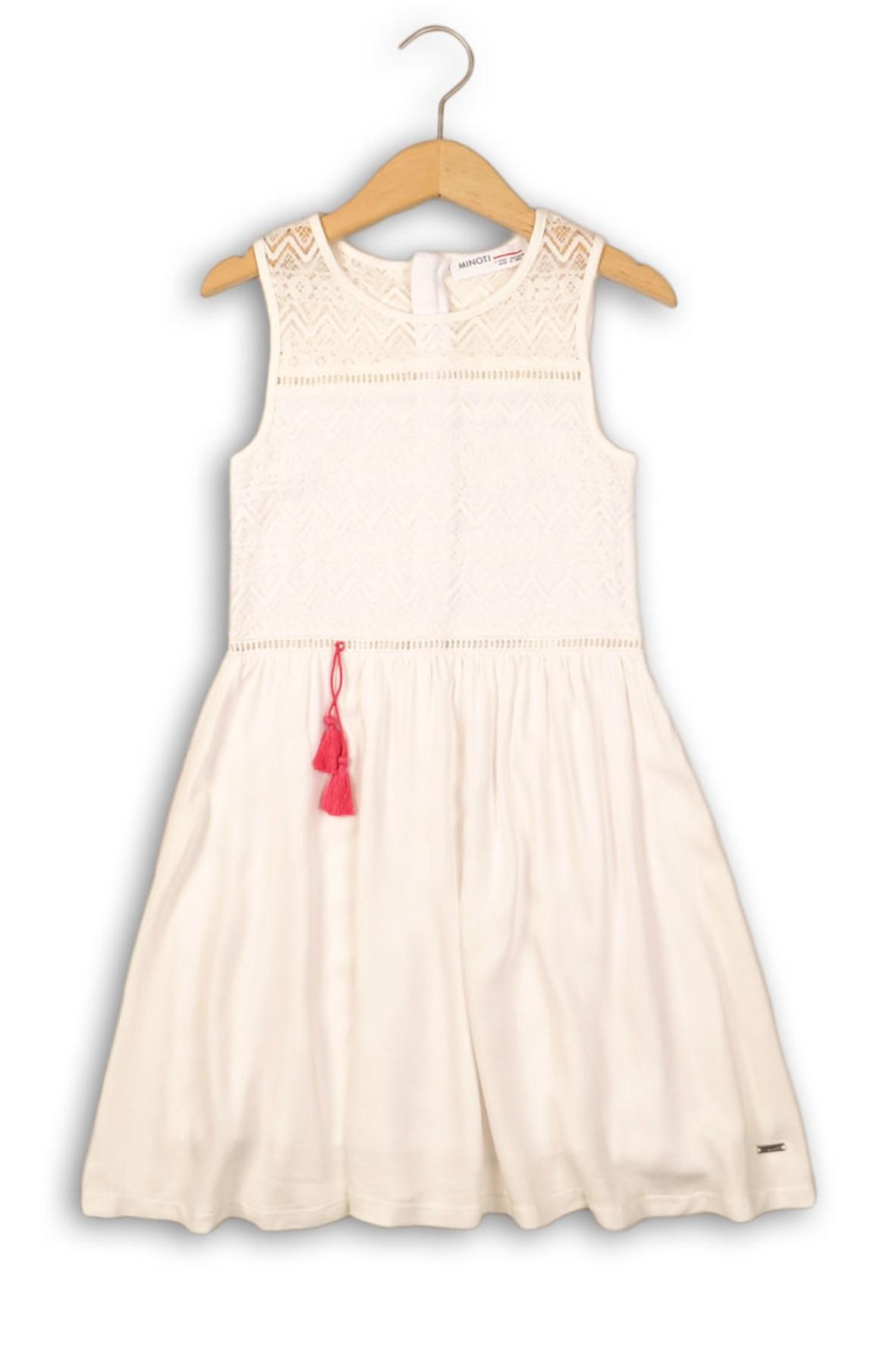 Elegancka biała sukienka dziewczęca z ażurową górą