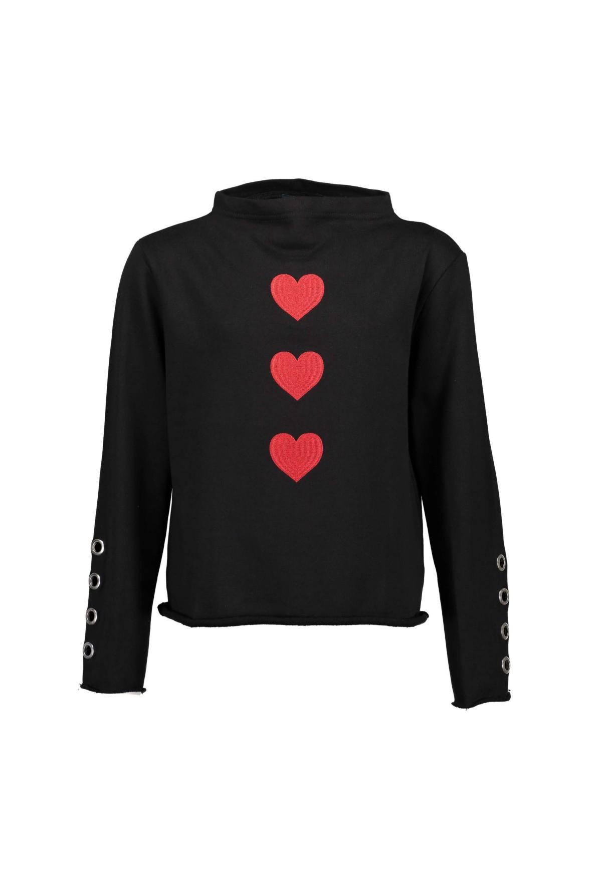 Bluzka dziewczęca czarna z czerwonymi sercami