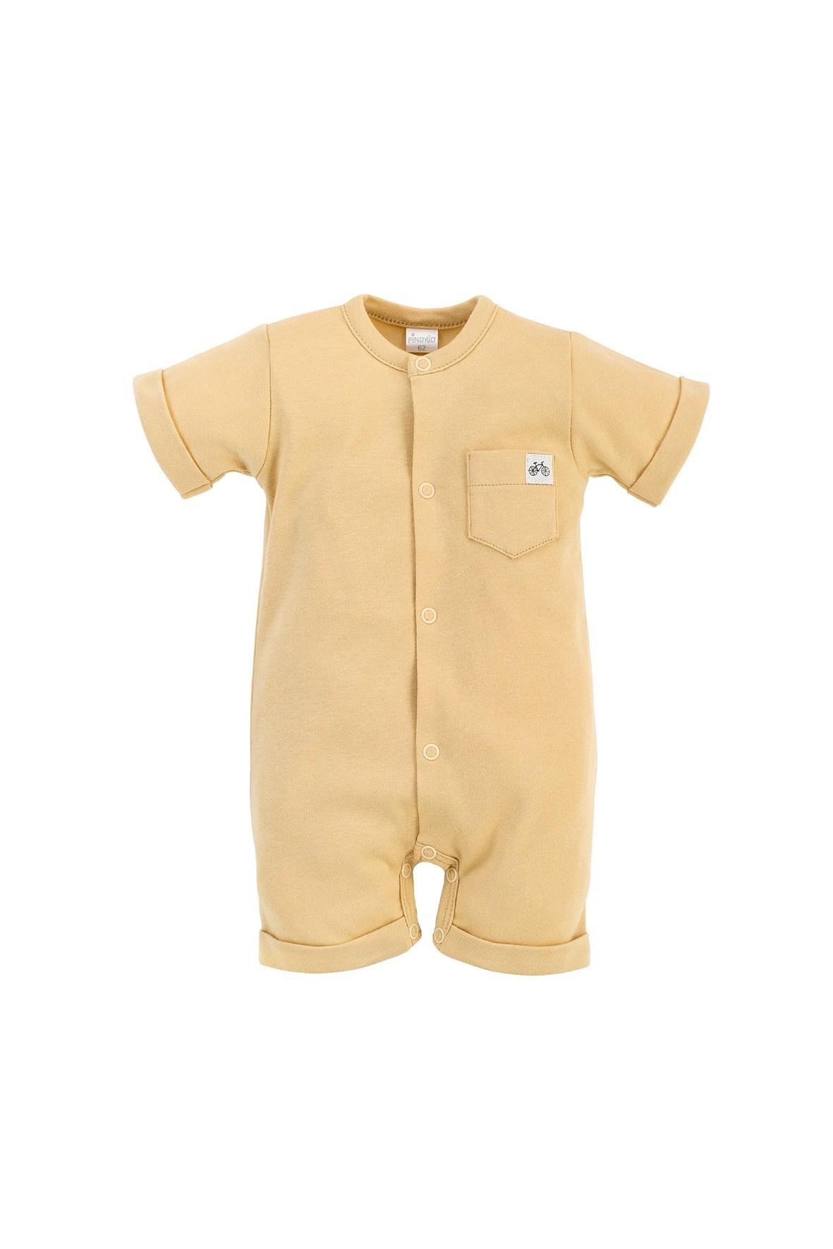 Bawełniany rampers niemowlęcy - żółty