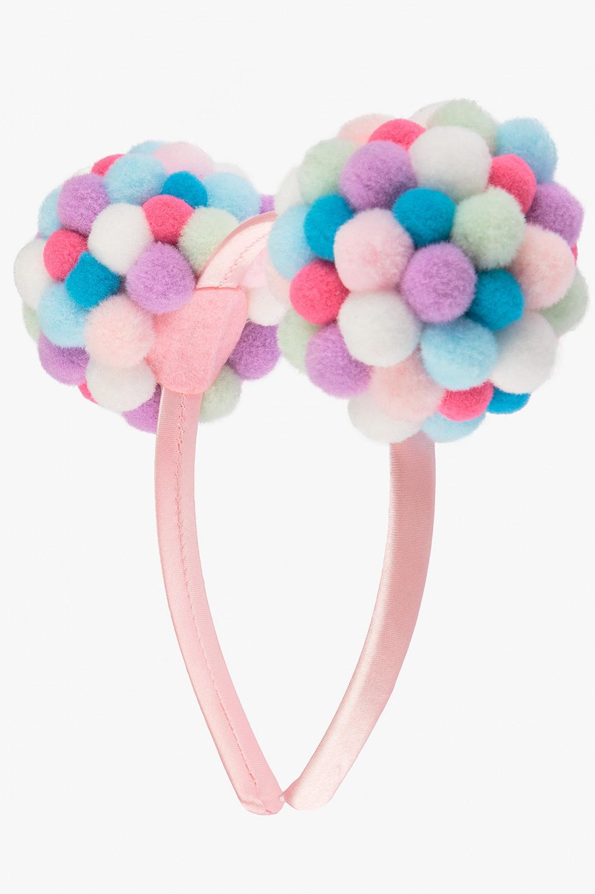 Opaska do włosów różowa z pomponami