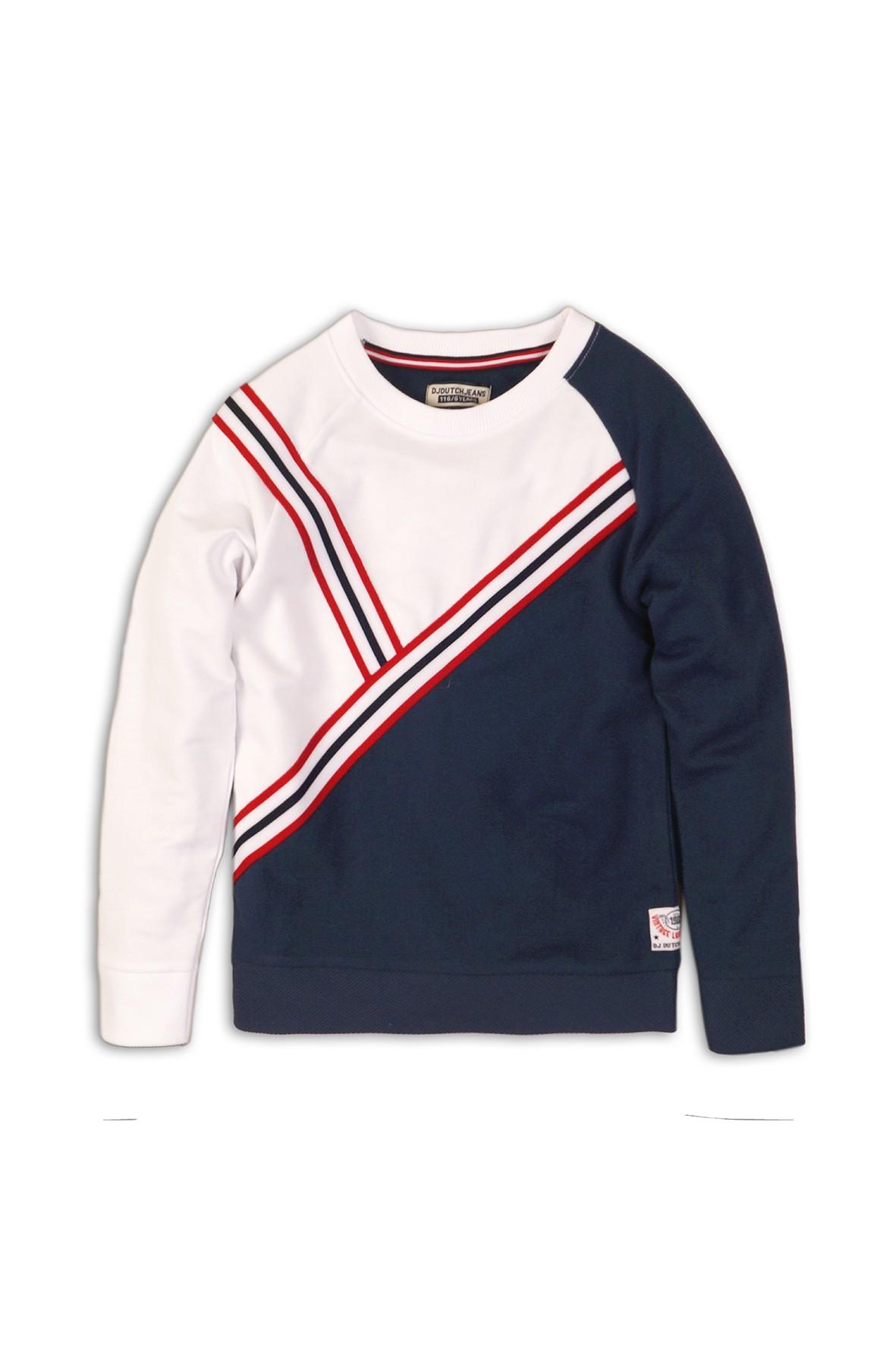Bluza dresowa nierozpinana granatowo-biała
