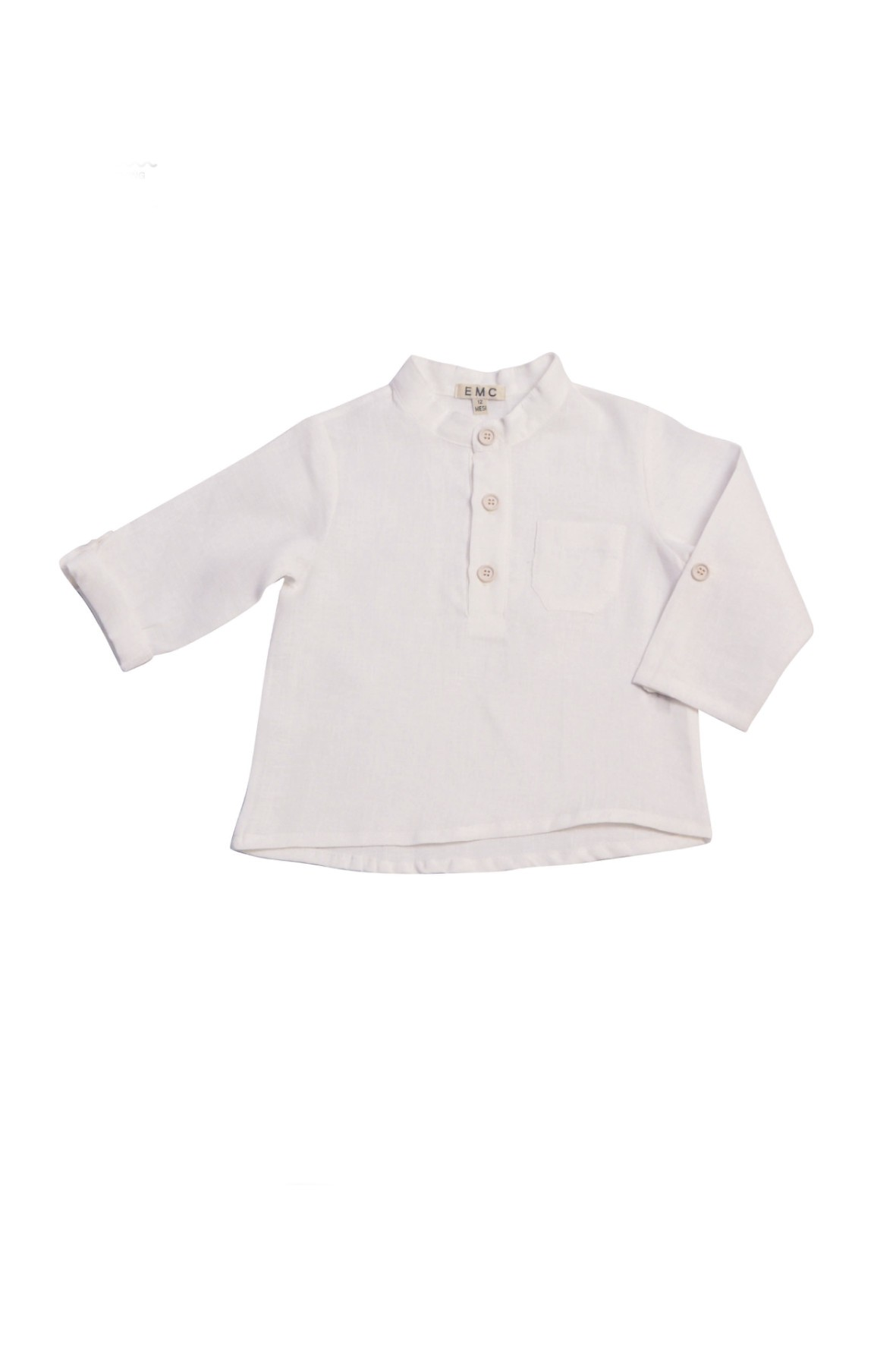 Koszula lniana dla niemowlaka biała