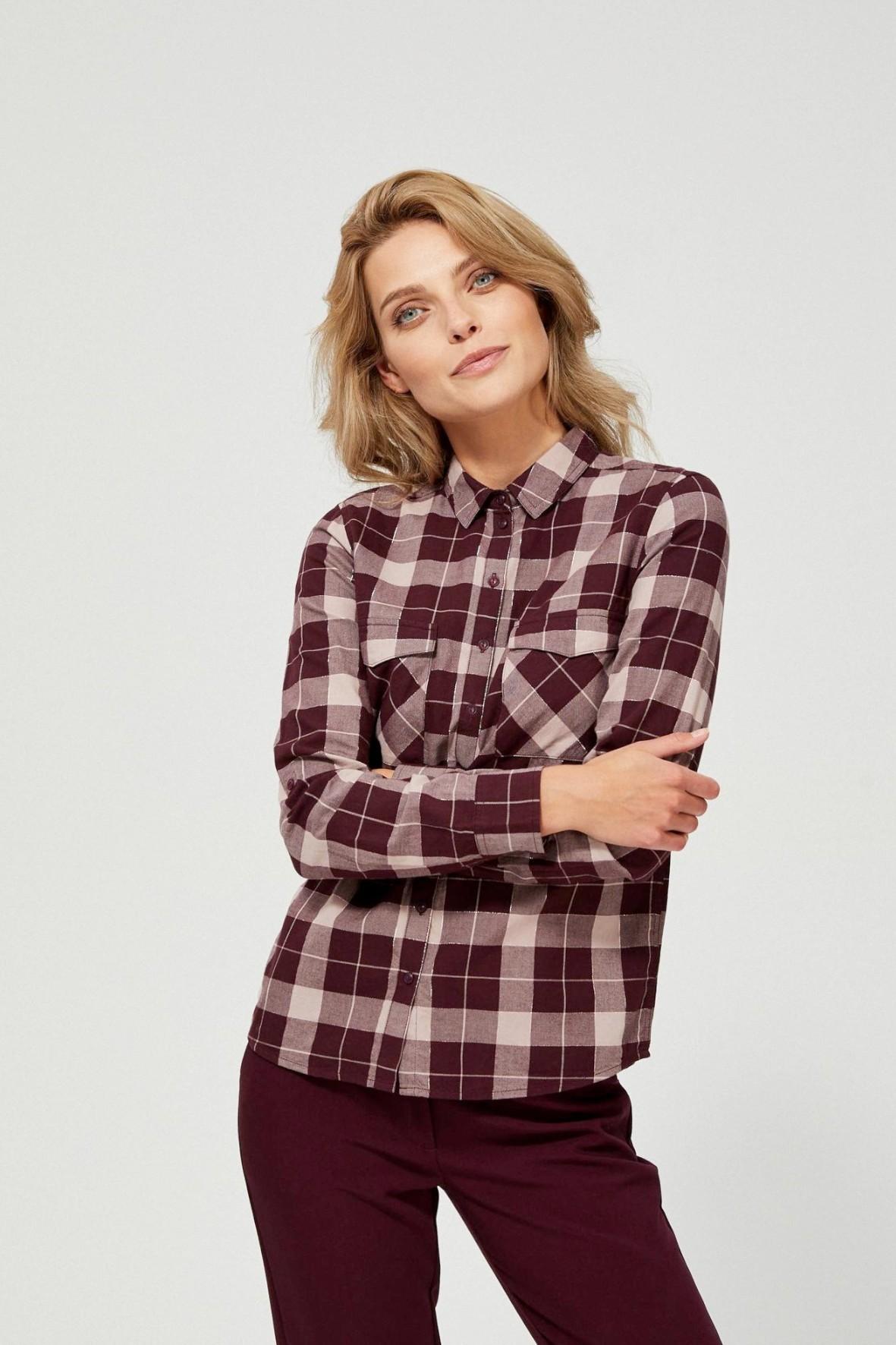 Koszula damska bordowa w kratę- długi rękaw