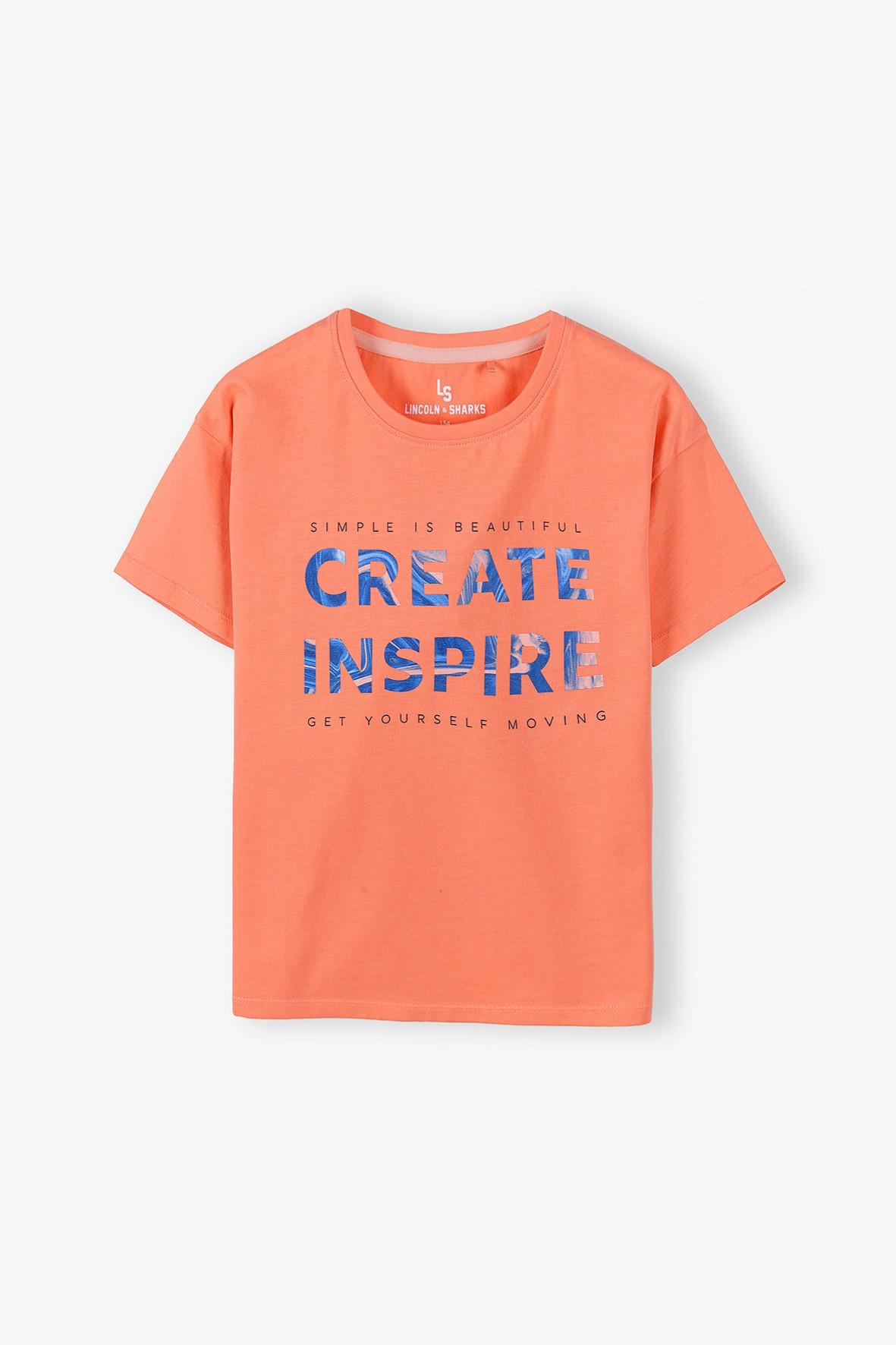 T- shirt dziewczęcy z napisem Create Inspire