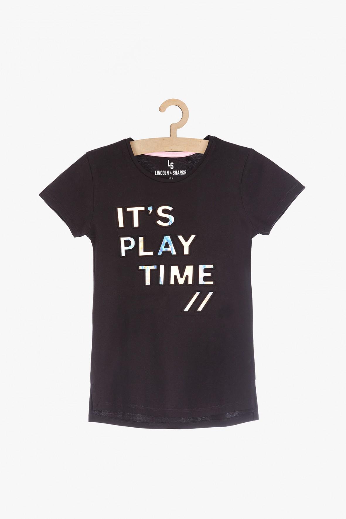 T-shirt dziewczecy z holograficznyą aplikacją
