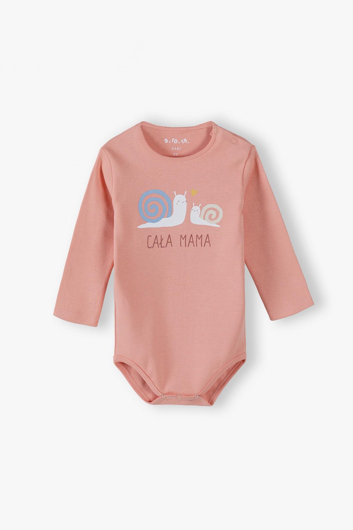 Bawełniane body niemowlęce z długim rękawem z napisem Cała Mama