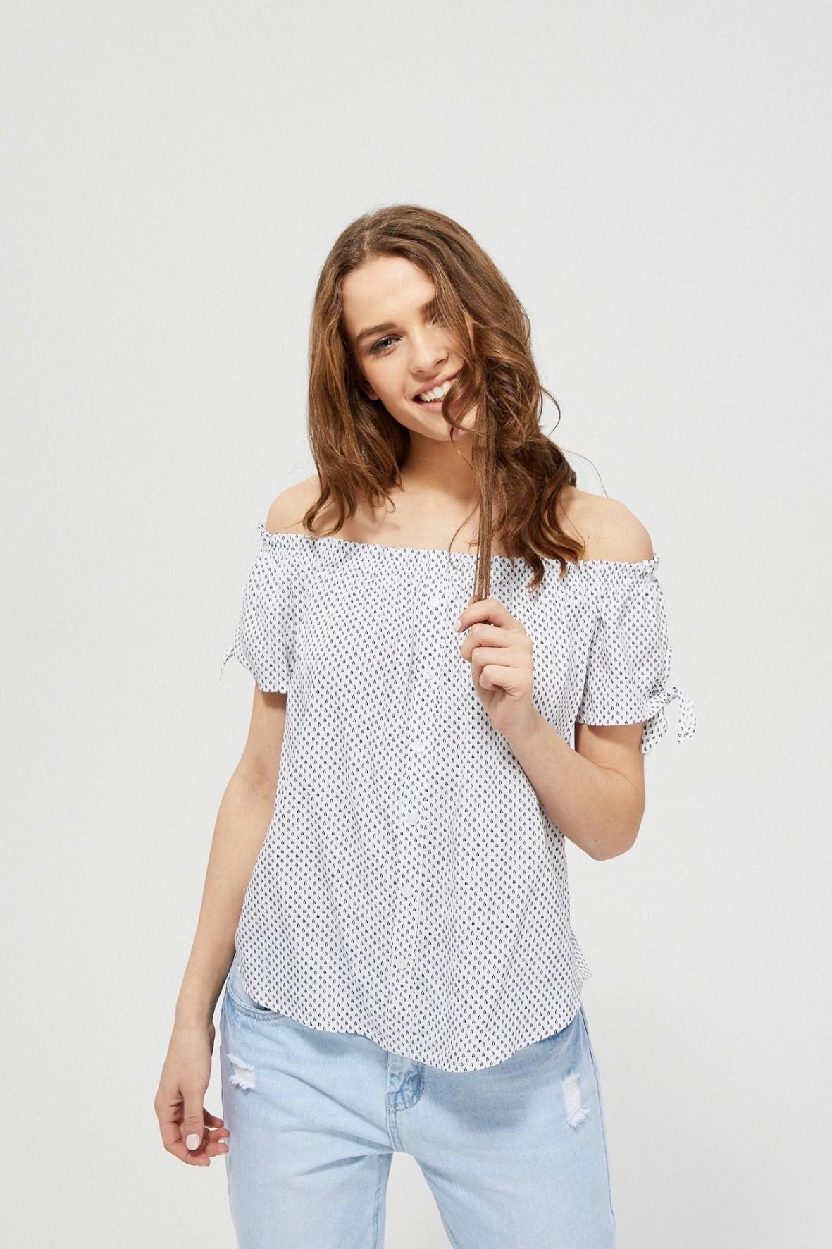 Bluzka damska typu hiszpanka z wzorem biała