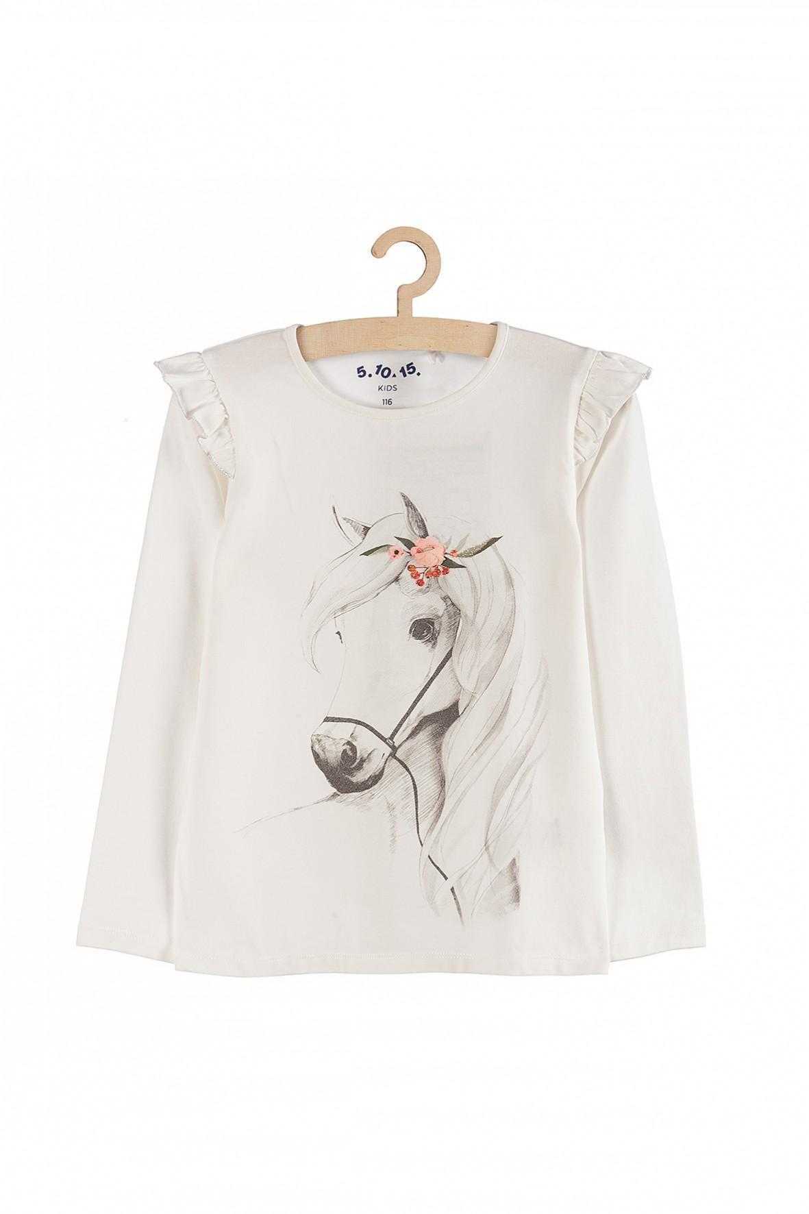 Bluzka dla dziewczynki z koniem- ozdobny rękaw