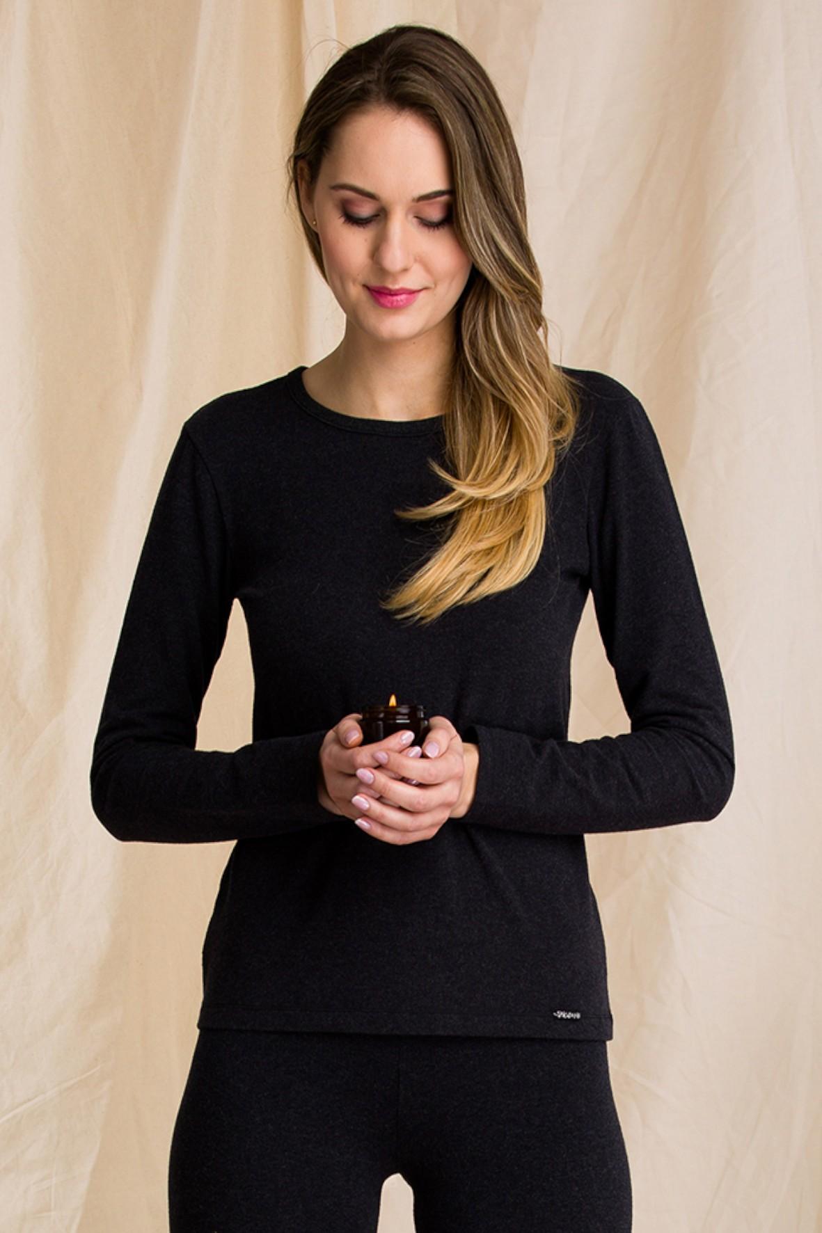 Ciepła bielizna – Hot touch- czarny podkoszulek damski z długim rękawem