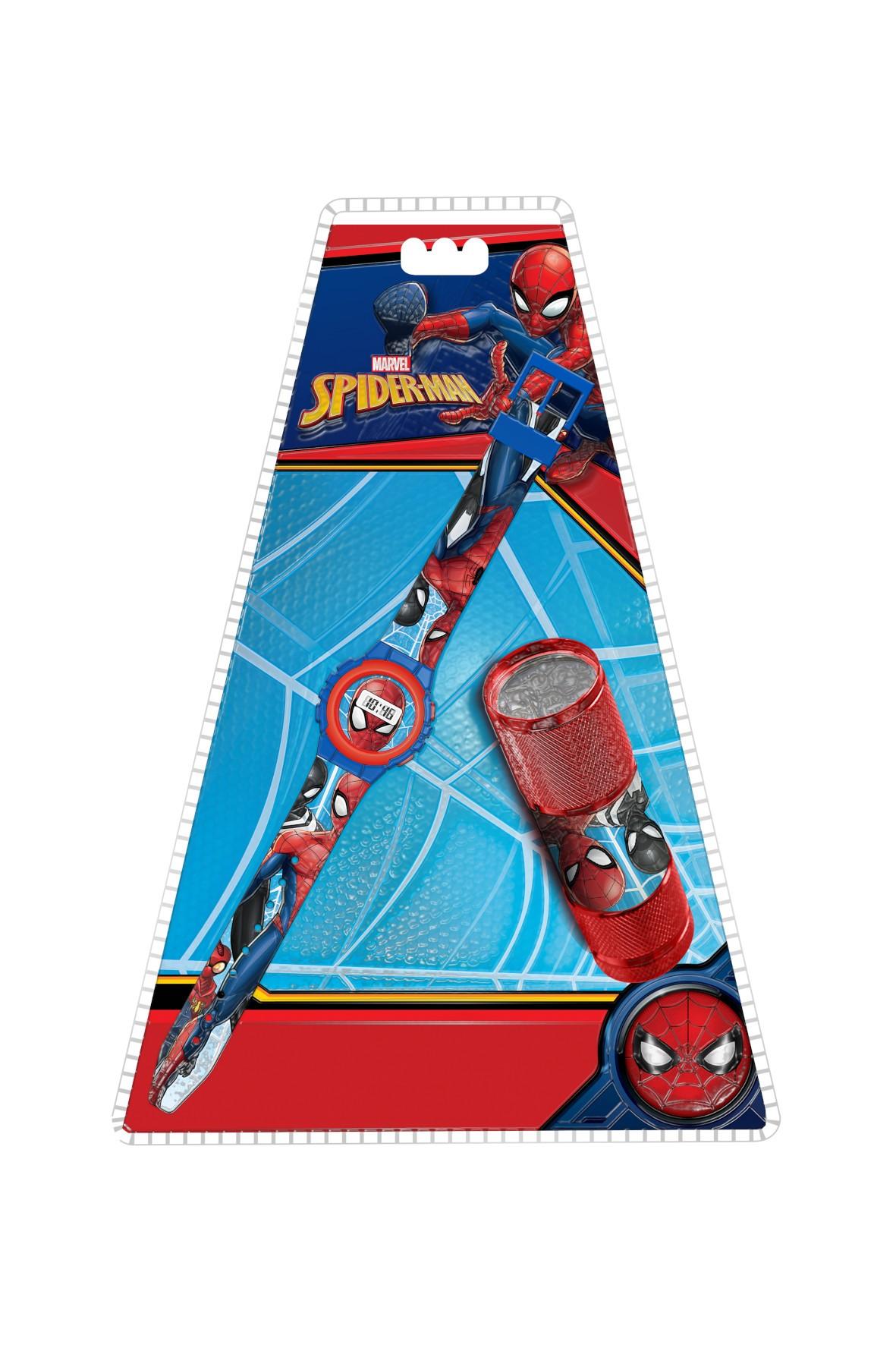 Zestaw dziecięcy  zegarek cyfrowy z latarką LED - Spiderman