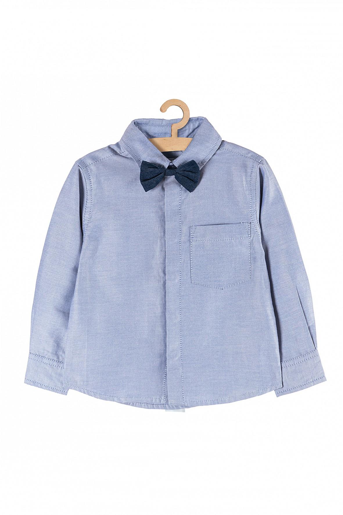 Elegancka koszula dla chłopięca- niebieska z granatową muchą
