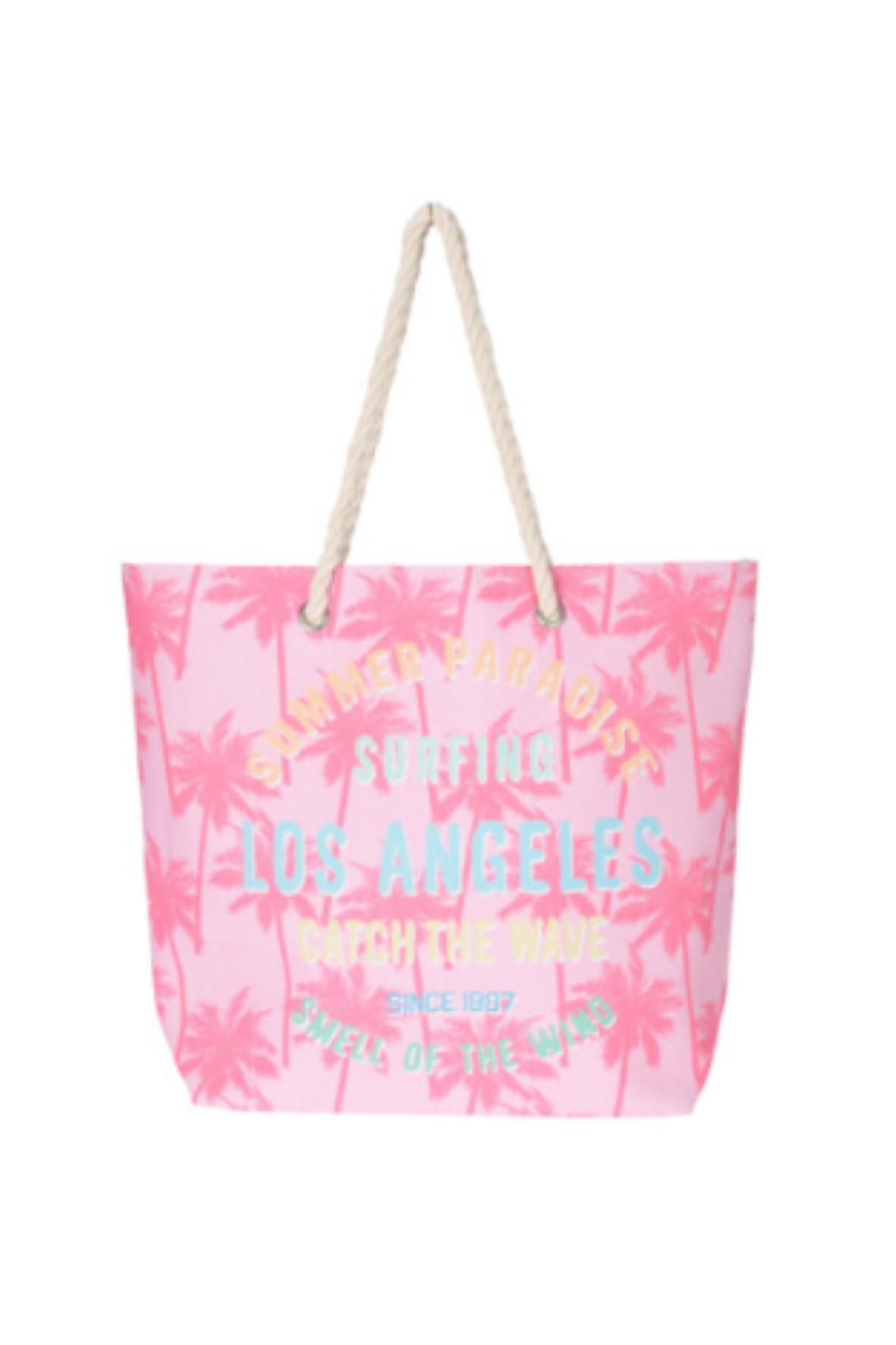 Torebka damska plażowa z wakacyjnym napisem - różowa