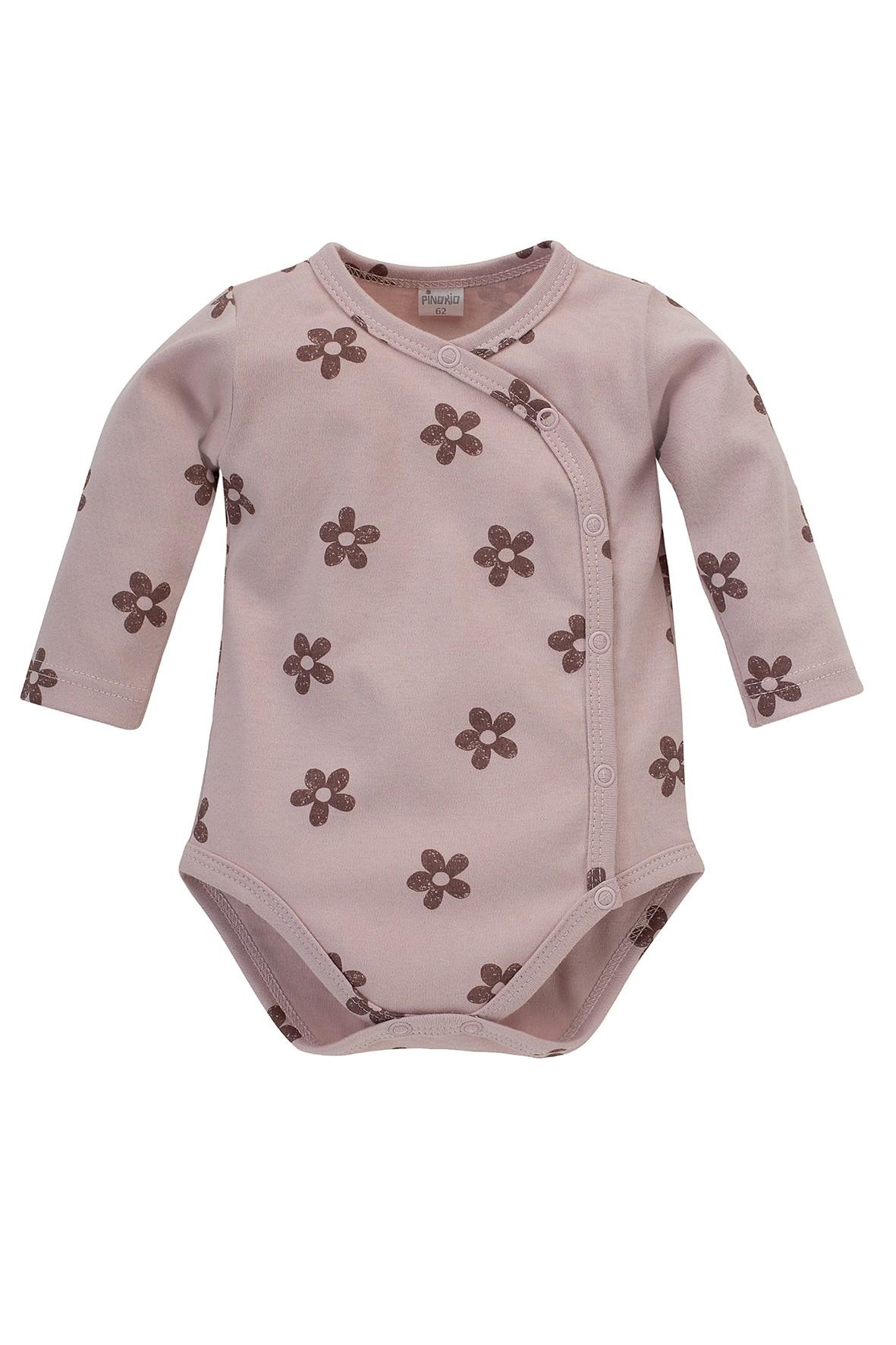 Body niemowlęce rozpinane z długim rękawem różowe w kwiatki