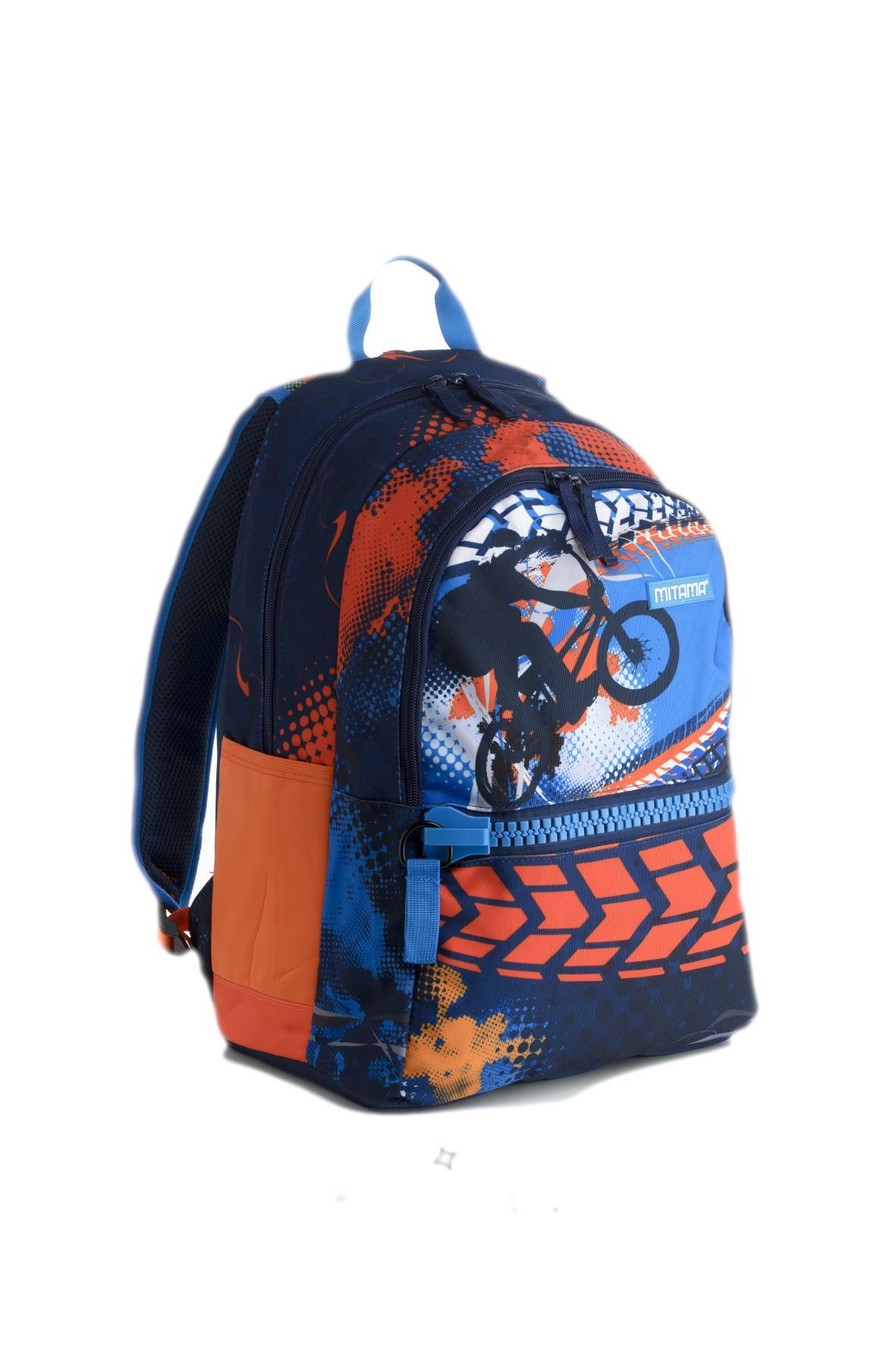 Plecak szkolny chłopięcy - granatowo -pomarańczowy