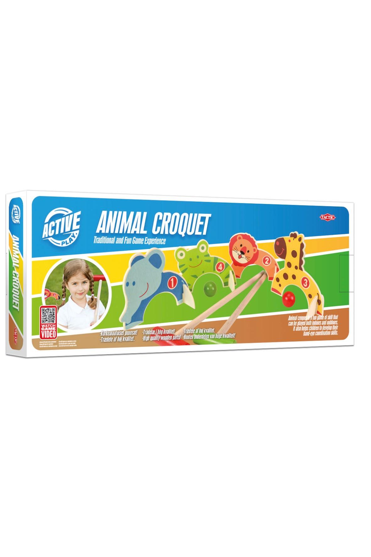 Krokiet drewniany dla dzieci ze zwierzątkami