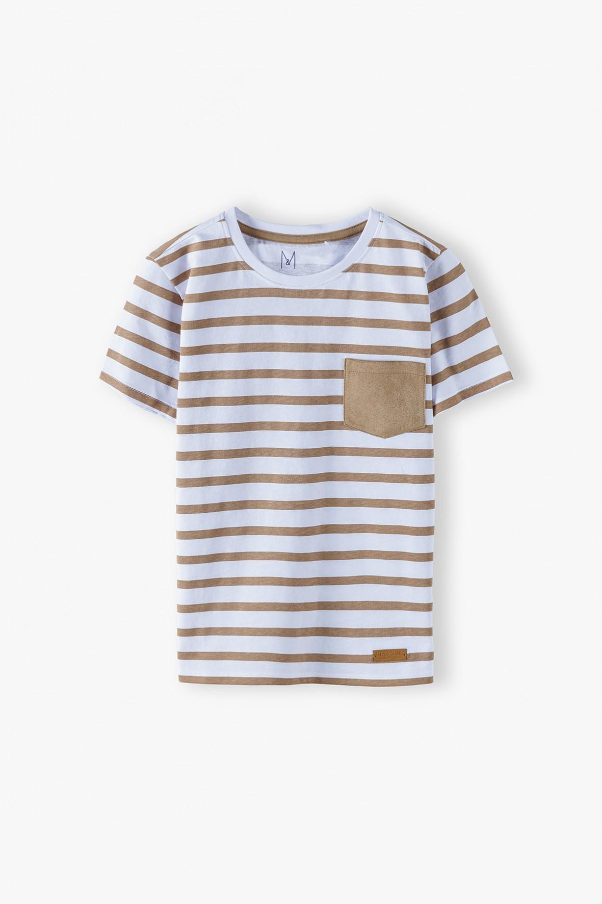 Bawełniana t-shirt chłopięcy w paski z kieszonką
