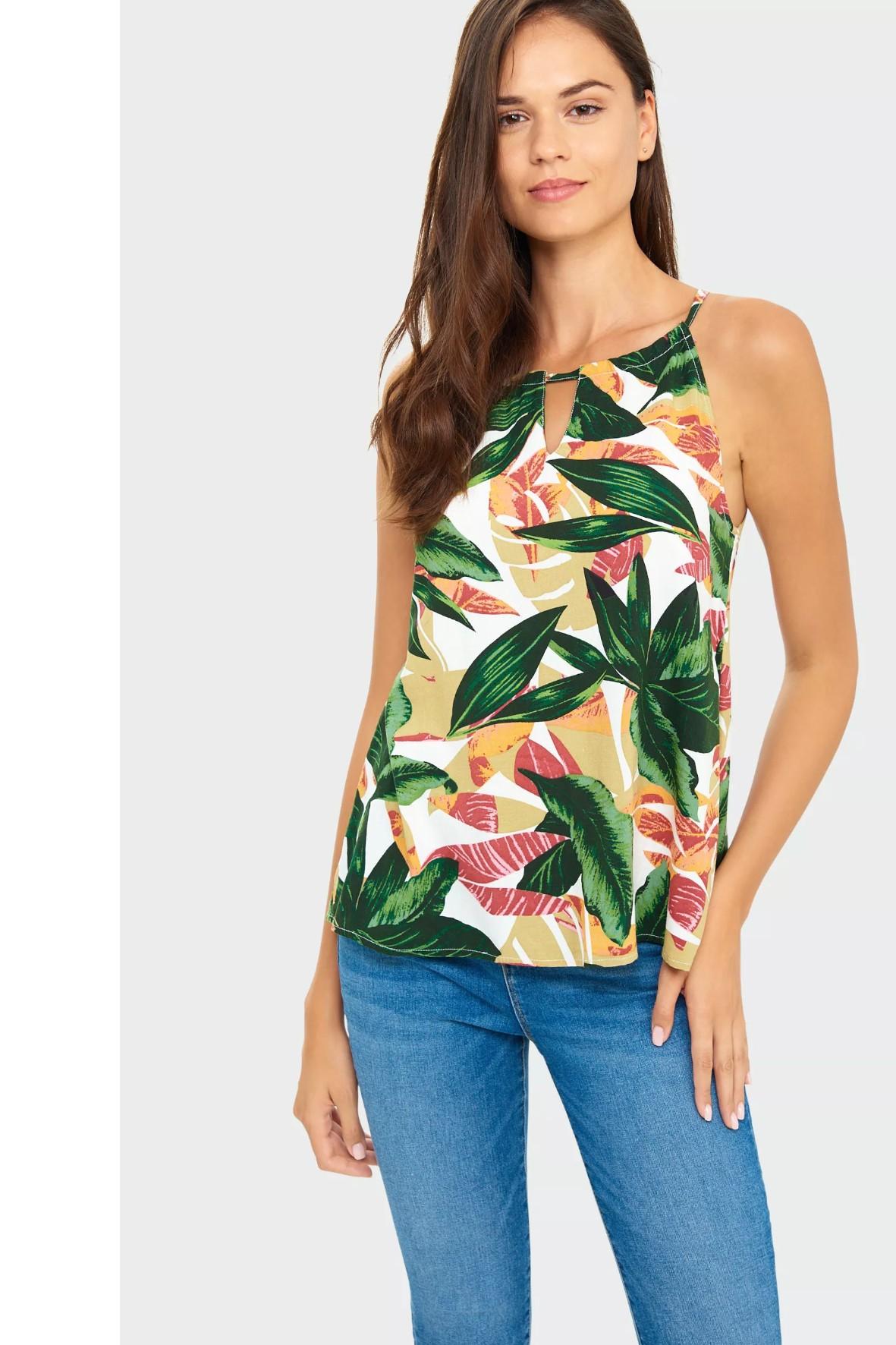Wiskozowa bluzka na ramiączkach z roślinnym nadrukiem
