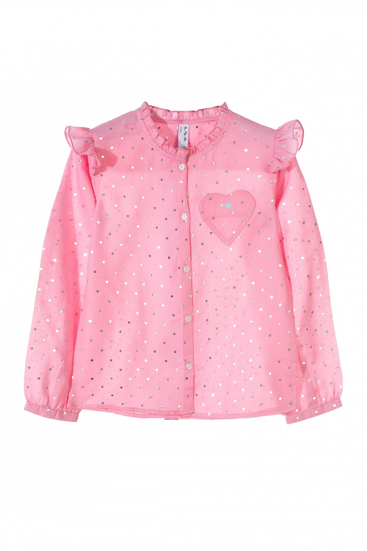 Koszula dziewczęca różowa w srebrne kropki