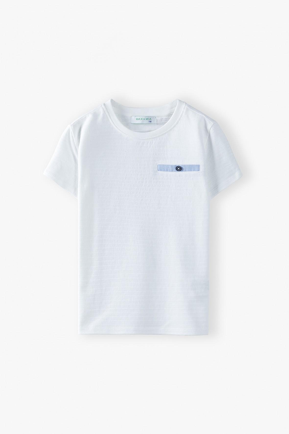 T-shirt chłopięcy bawełniany w paski - biały