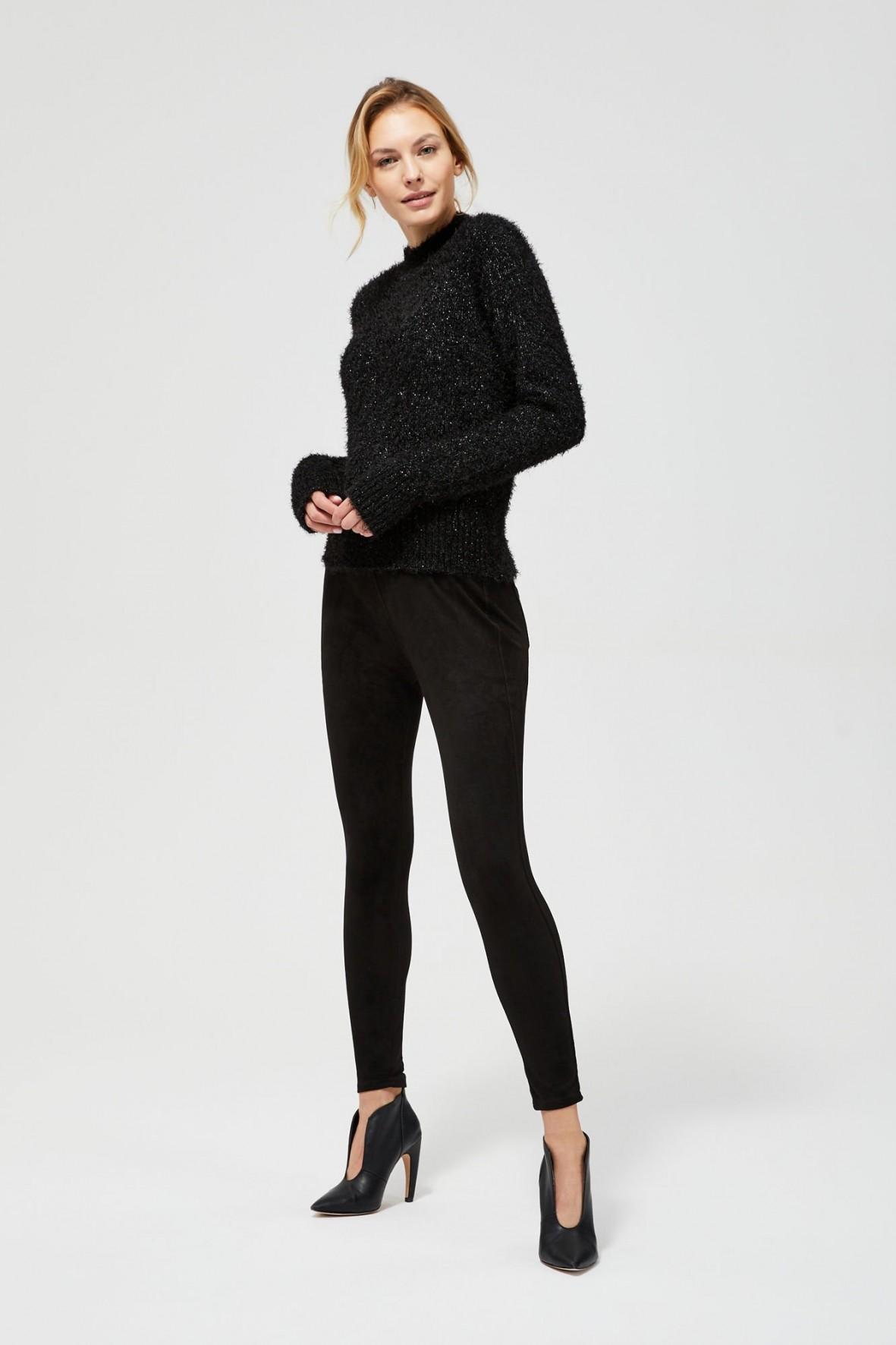 Spodnie damskie z imitacji zamszu- czarne