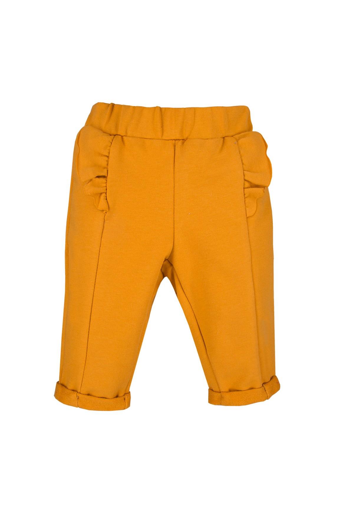 Bawełniane spodnie niemowlęce - miodowe