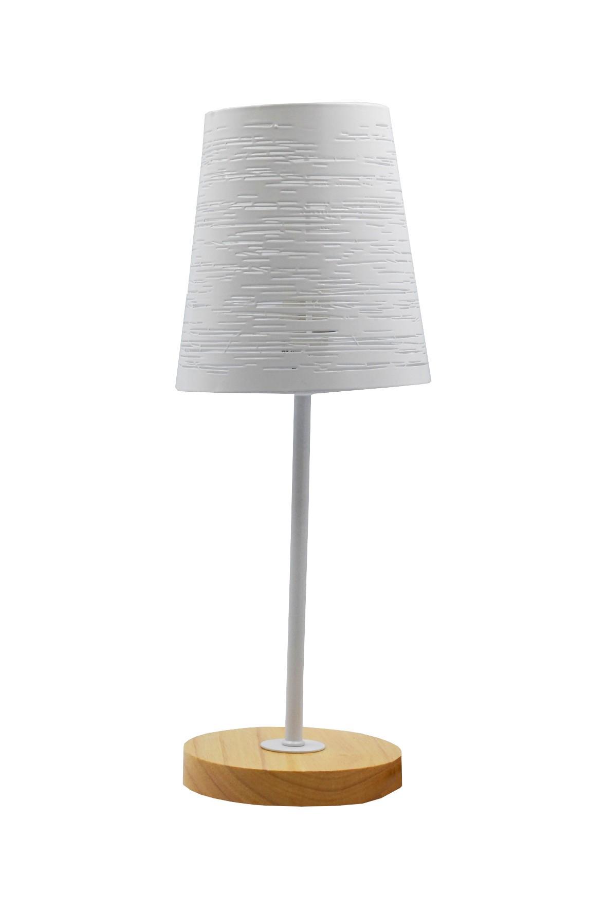 Lampa stołowa z metalowym ażurowym kloszem - biała