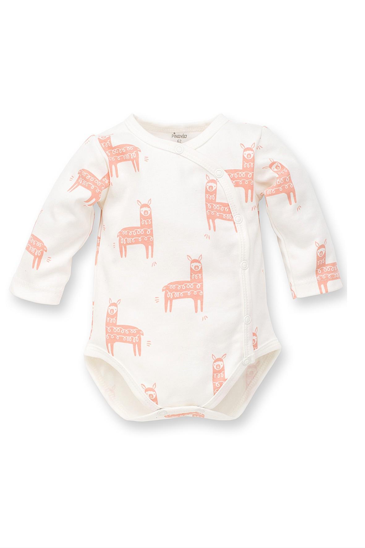 Body bawełniane dla dziewczynki- białe w różowe lamy